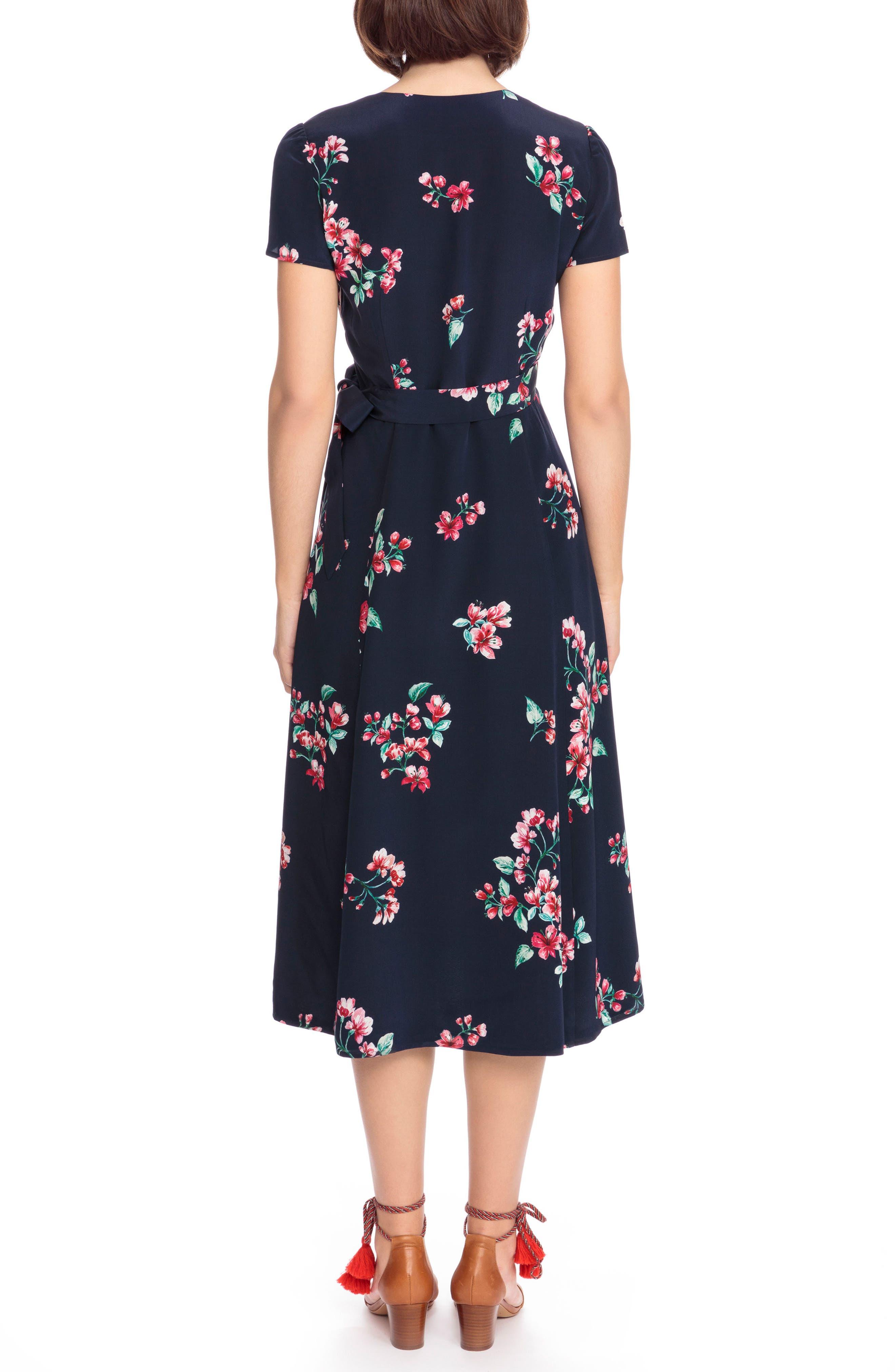 Amber Floral Silk Wrap Dress,                             Alternate thumbnail 2, color,                             400