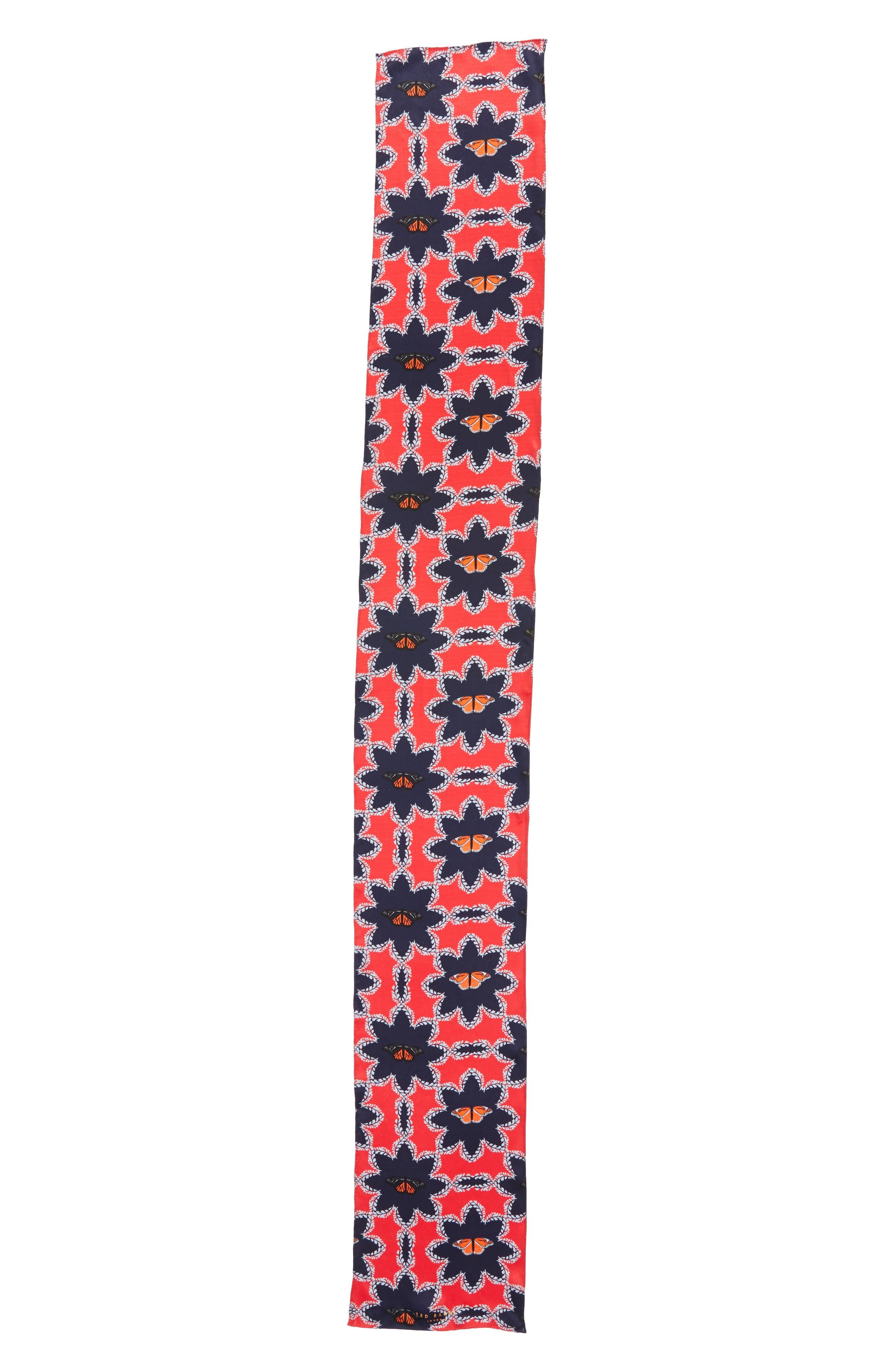 Kyoto Gardens Silk Skinny Scarf,                             Alternate thumbnail 3, color,                             600