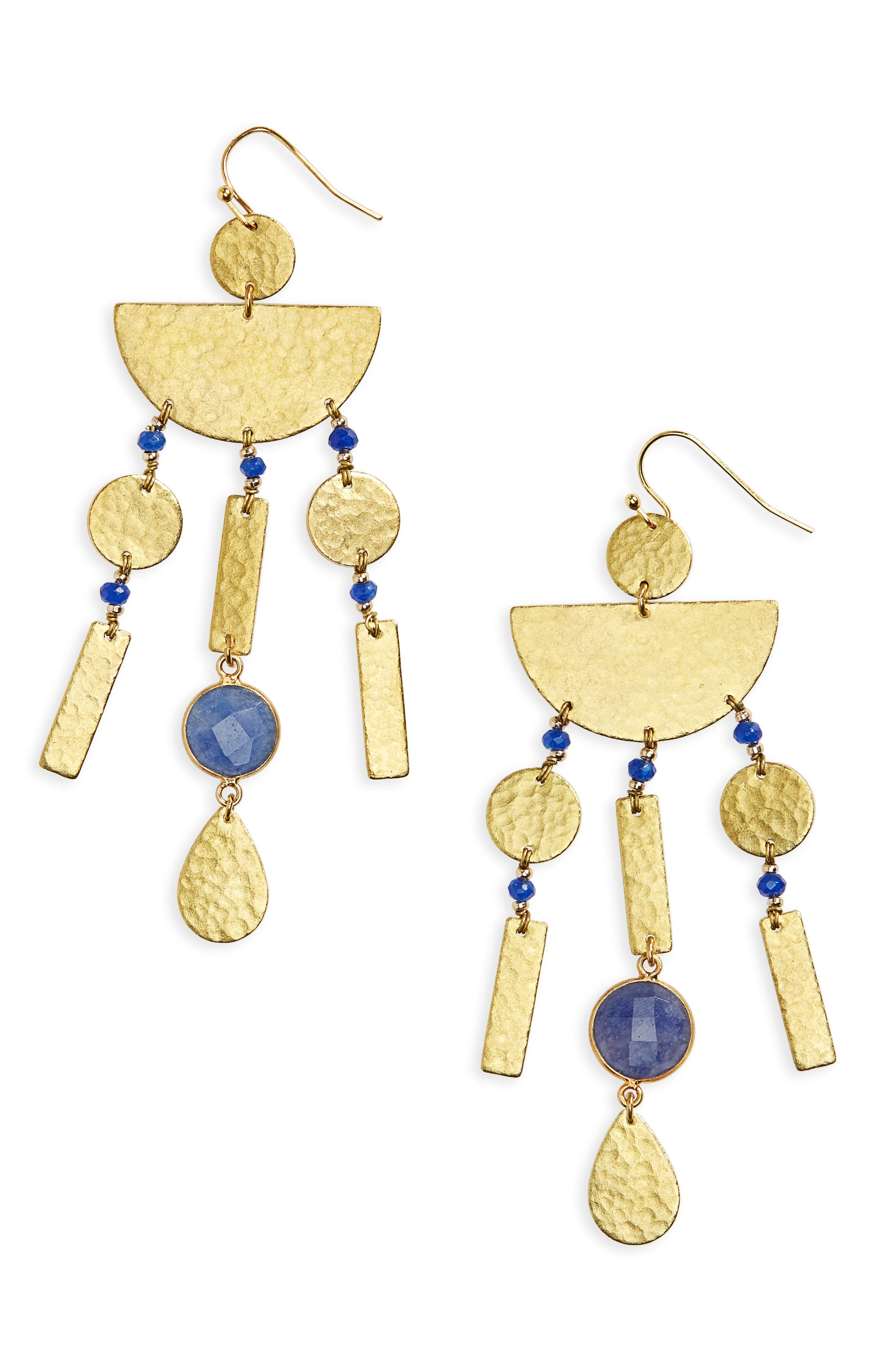 Natural Stone Hammered Drop Earrings,                             Main thumbnail 1, color,                             400