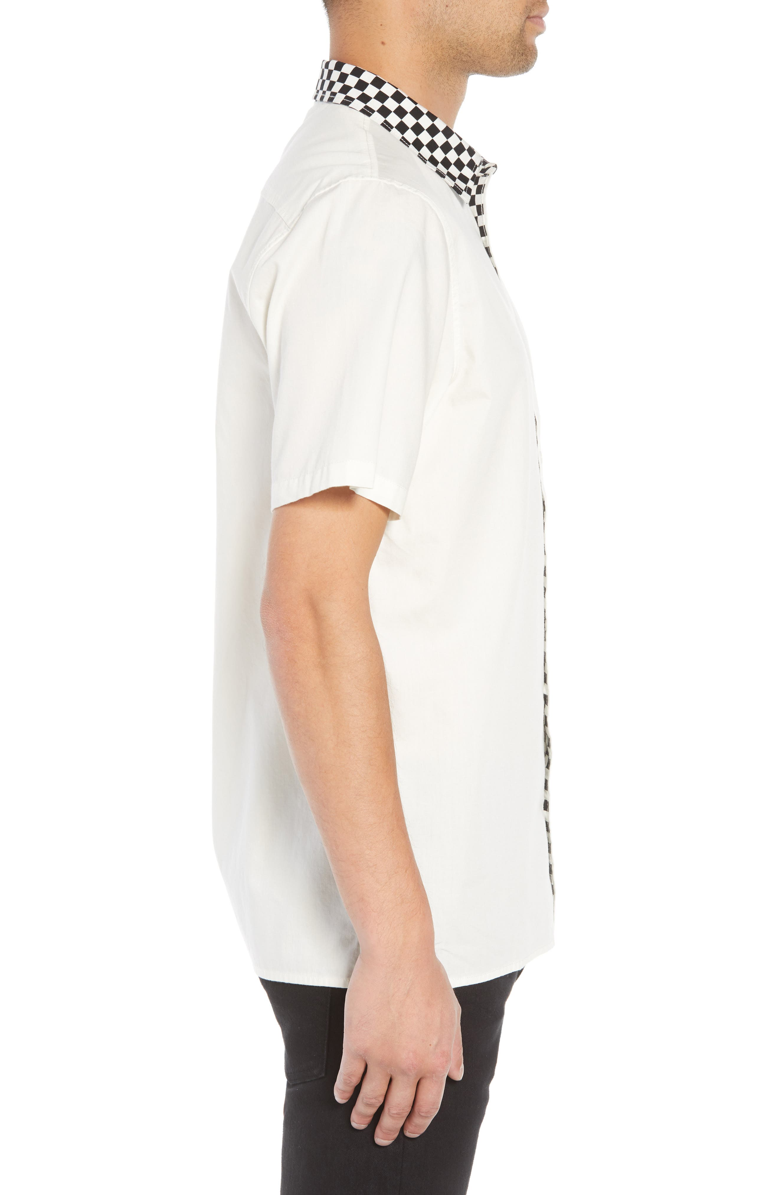 Check Collar Short Sleeve Shirt,                             Alternate thumbnail 4, color,                             OFF WHITE