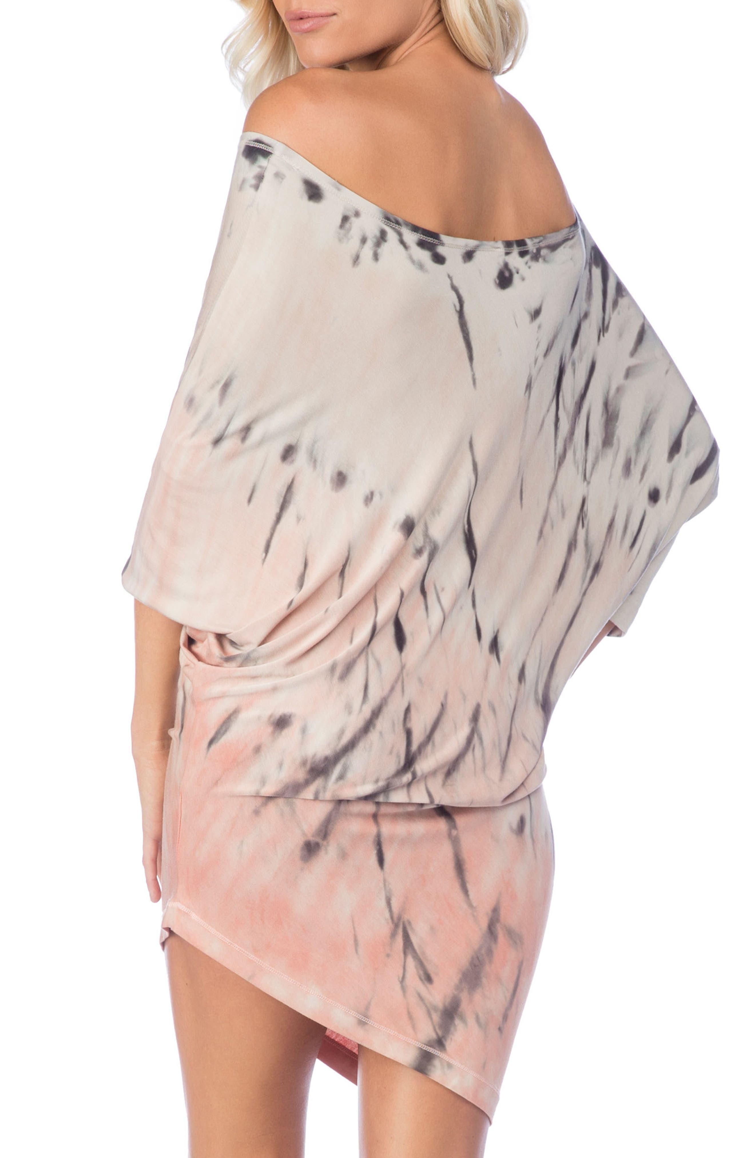 Playa Watercolor Sateen Cover-Up Dress,                             Alternate thumbnail 2, color,