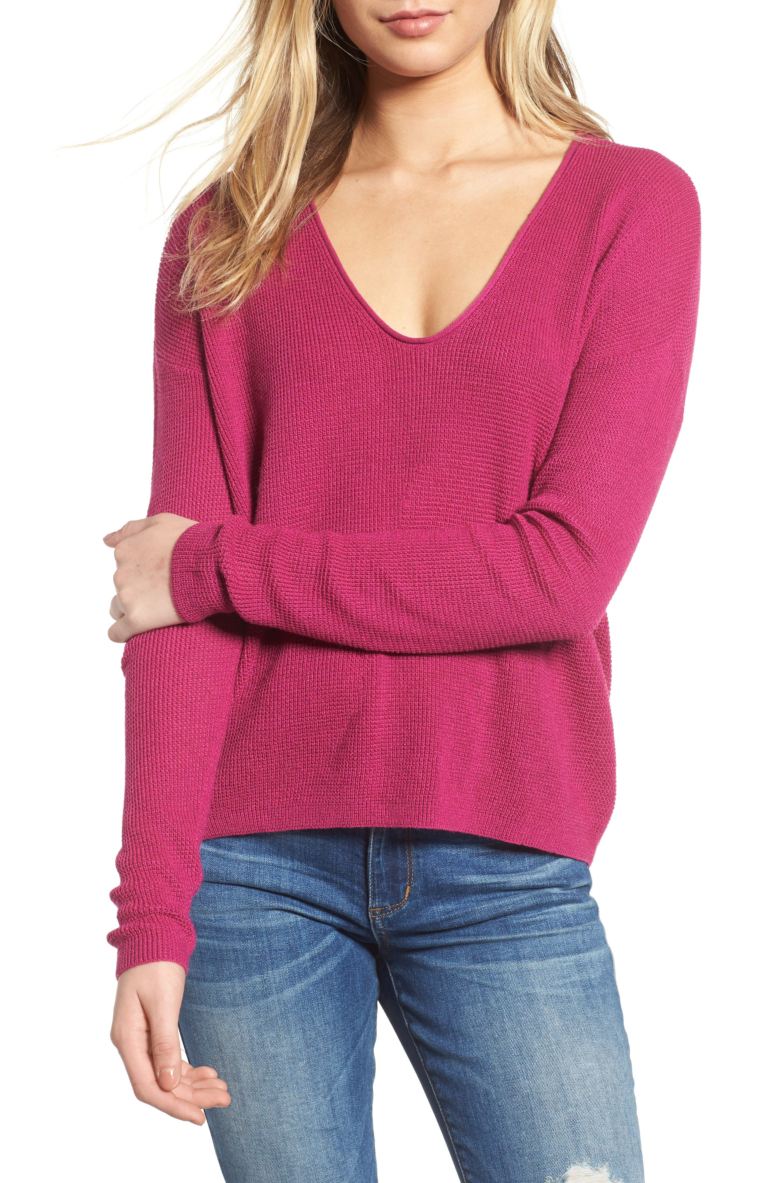 Textured Stitch V-Neck Pullover,                         Main,                         color, 651