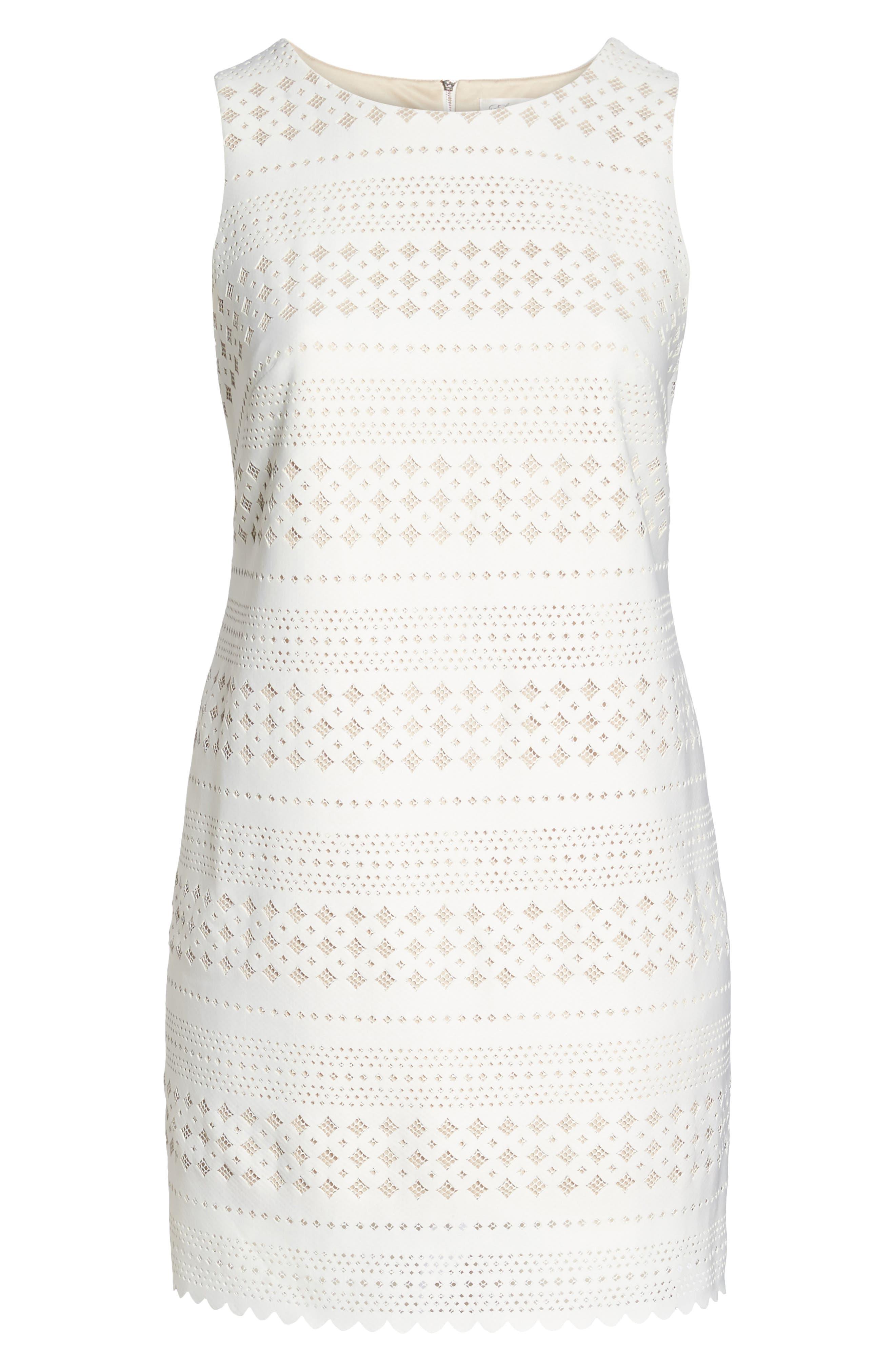 Lasercut Sheath Dress,                             Alternate thumbnail 6, color,