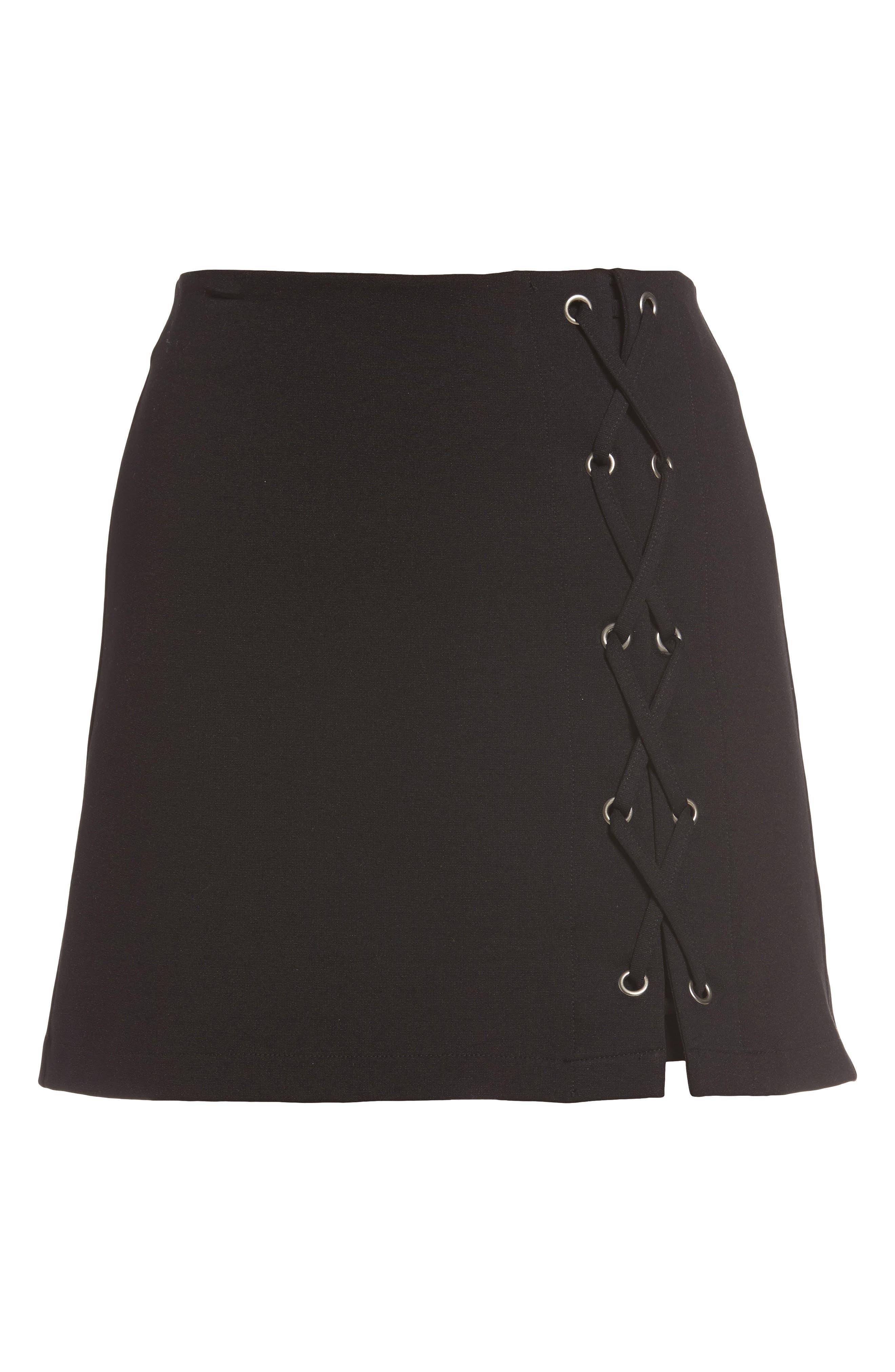 Grommet Lace-Up Miniskirt,                             Alternate thumbnail 6, color,