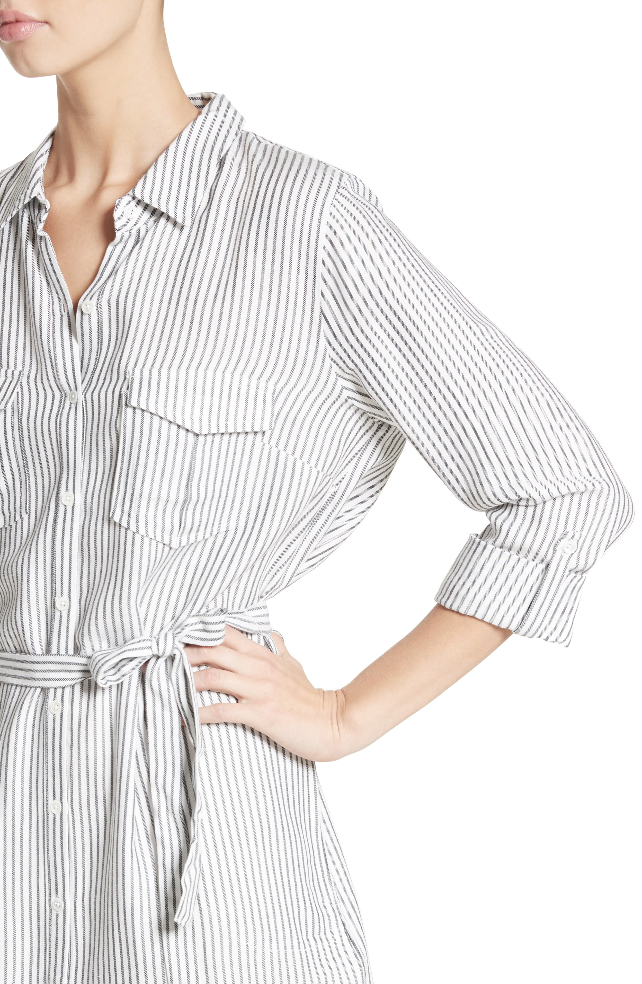Wila B Belted Stripe Shirtdress,                             Alternate thumbnail 4, color,                             123