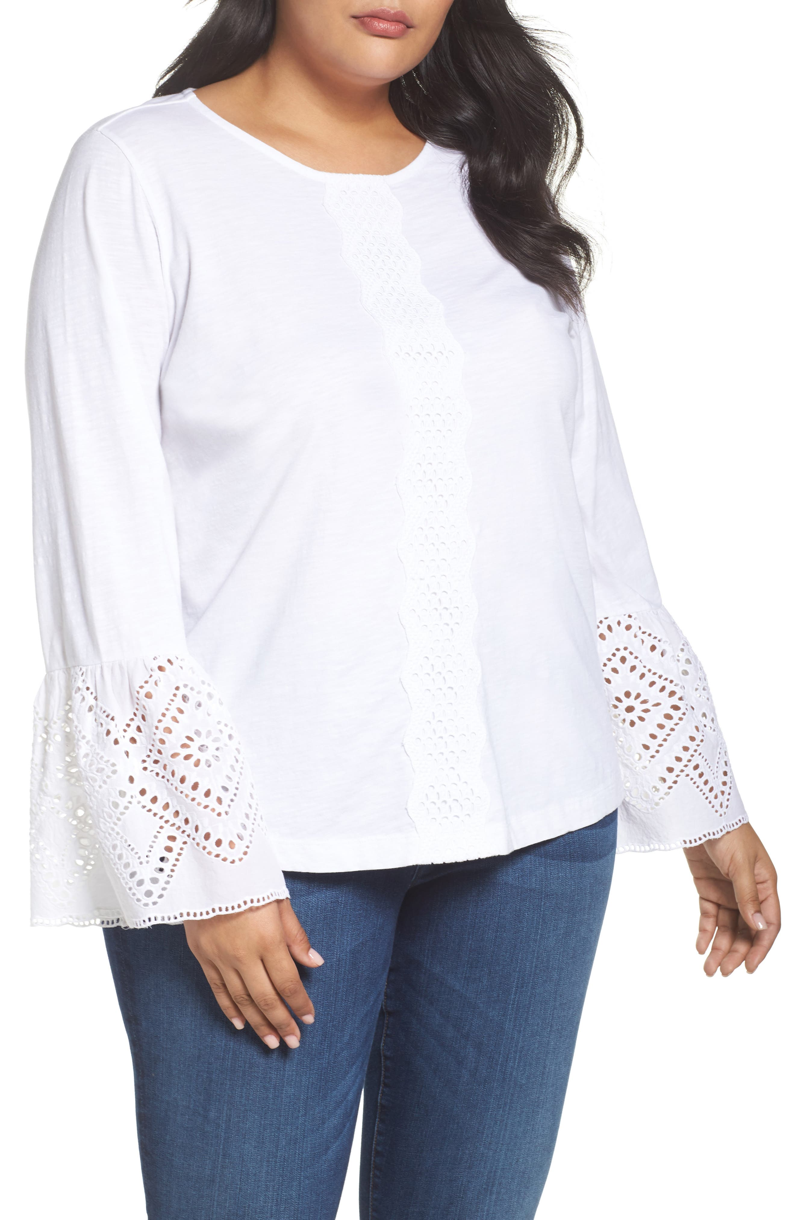 Eyelet Bell Sleeve Top,                         Main,                         color, 100