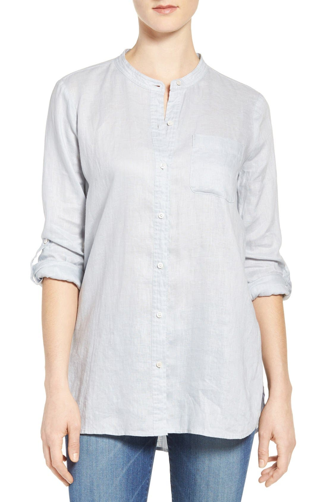 Two by Vince Camuto Collarless Linen Shirt,                             Main thumbnail 1, color,