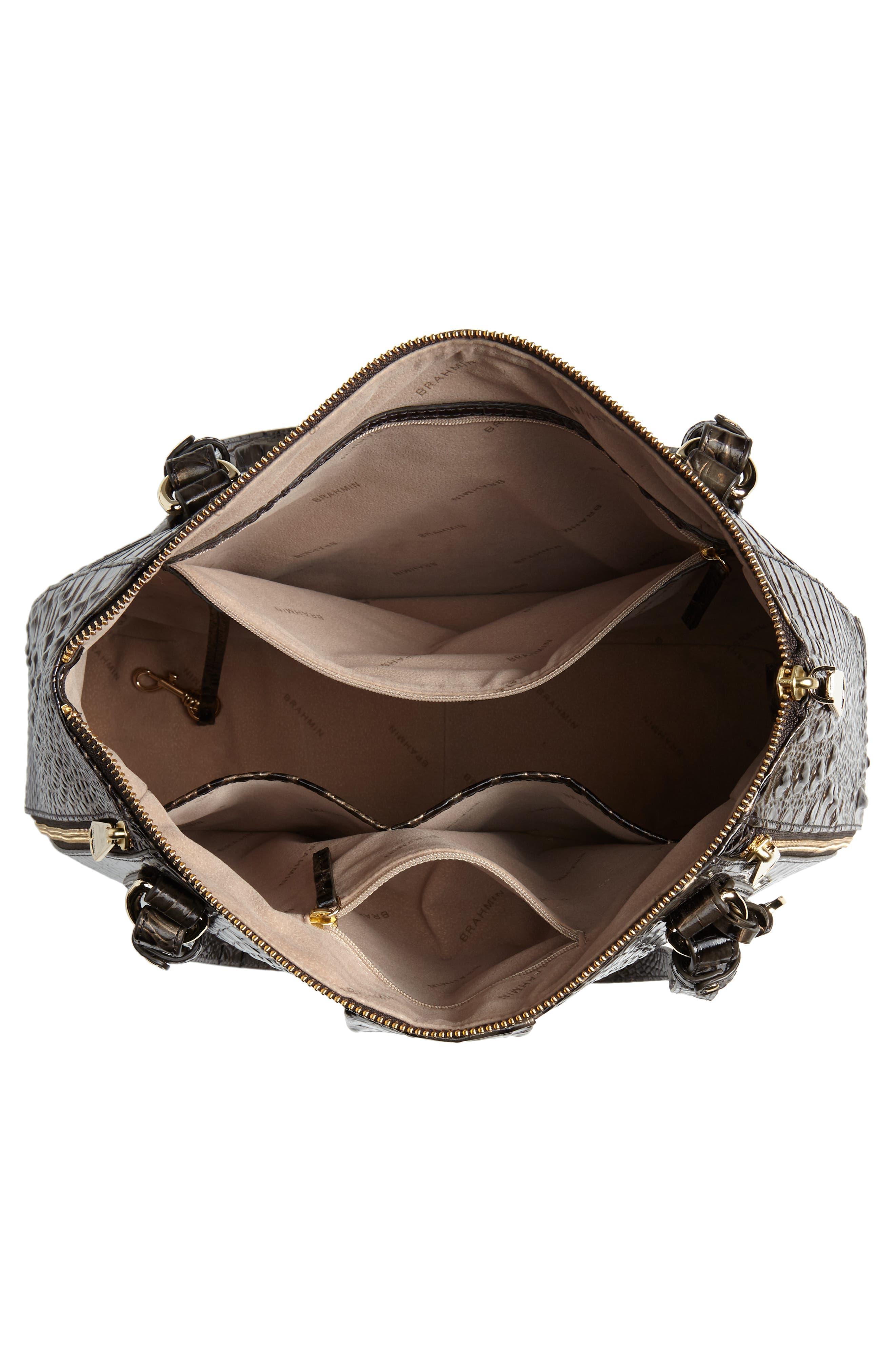 Melbourne - Adina Croc Embossed Leather Satchel,                             Alternate thumbnail 4, color,                             GRAPHITE