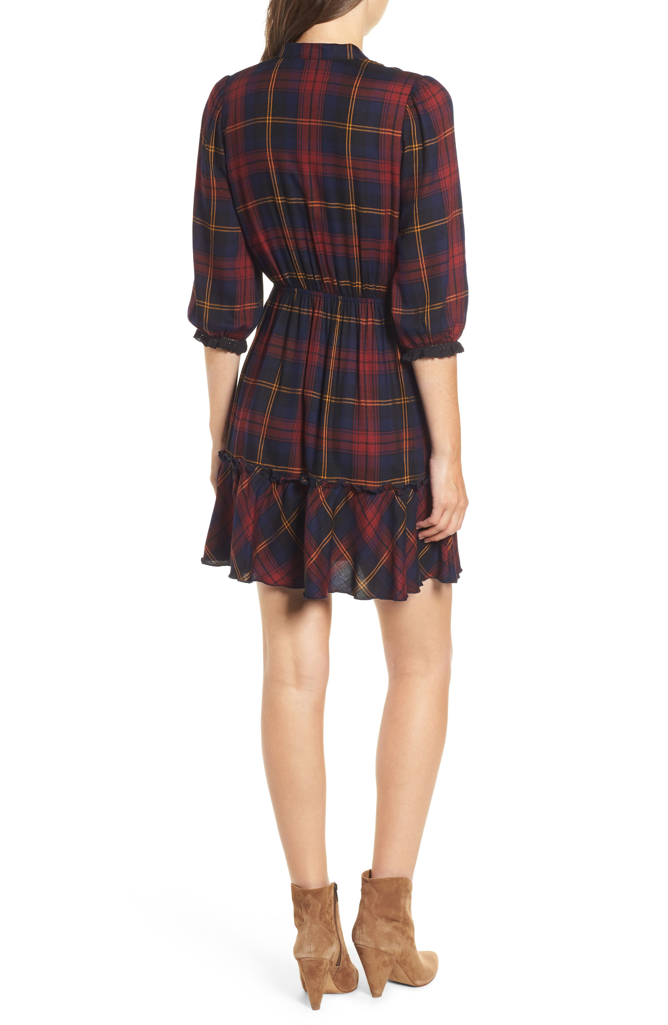 Plaid Ruffle Hem Dress,                             Alternate thumbnail 2, color,                             400