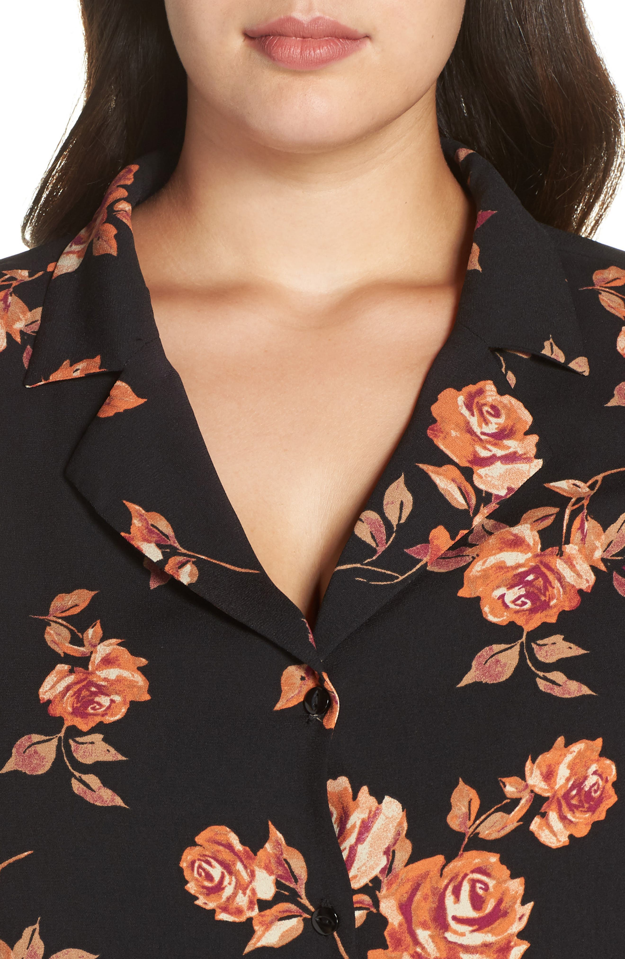 Notched Collar Floral Print Shirt,                             Alternate thumbnail 4, color,                             BLACK POP FLORAL