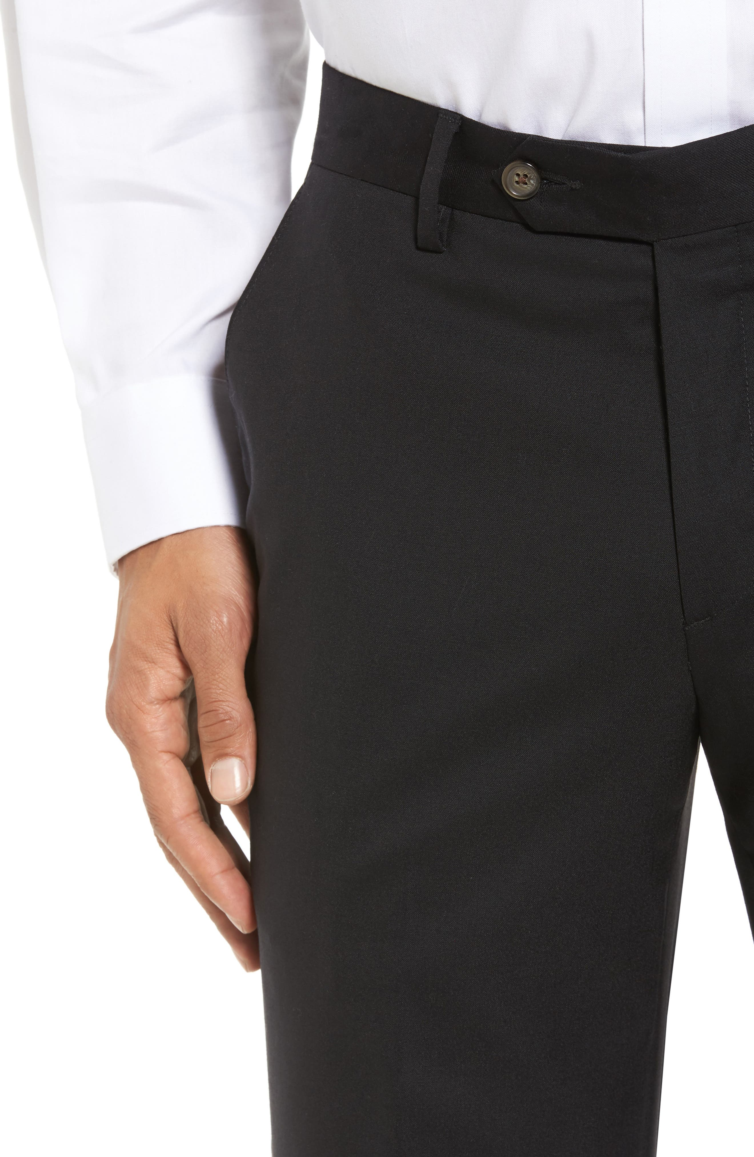 BERLE,                             Flat Front Stretch Solid Wool Trousers,                             Alternate thumbnail 5, color,                             001