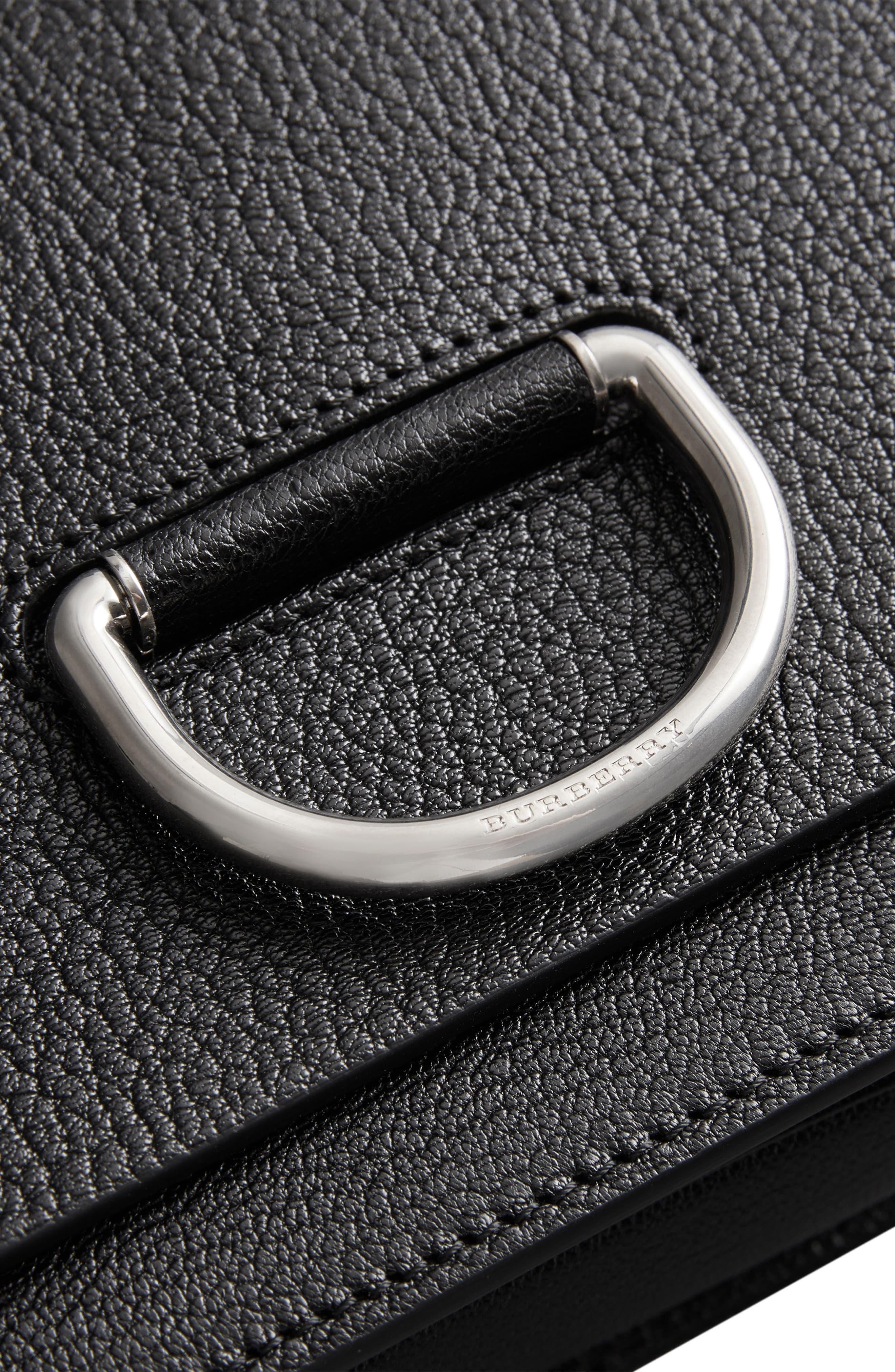 Small D-Ring Leather Crossbody Bag,                             Alternate thumbnail 6, color,                             BLACK