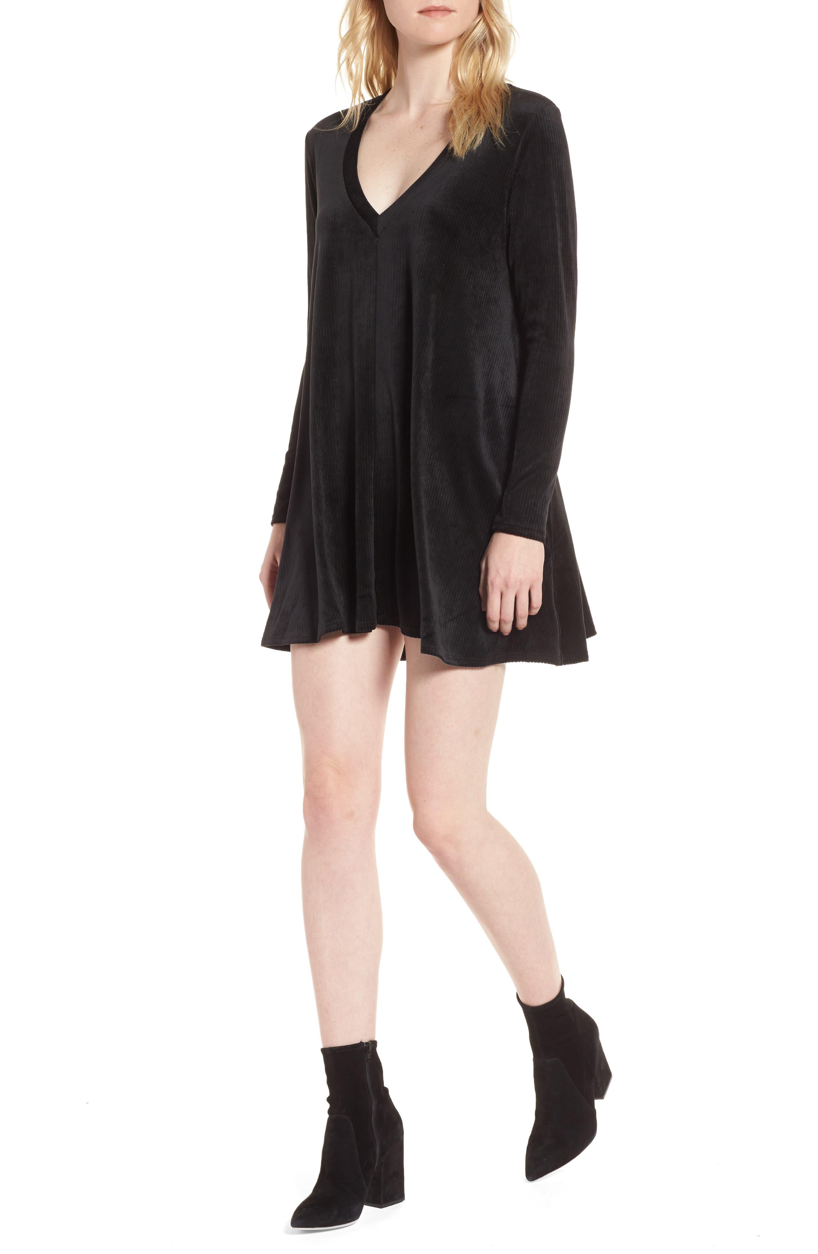 Hannah Velvet Shift Dress,                         Main,                         color, 001