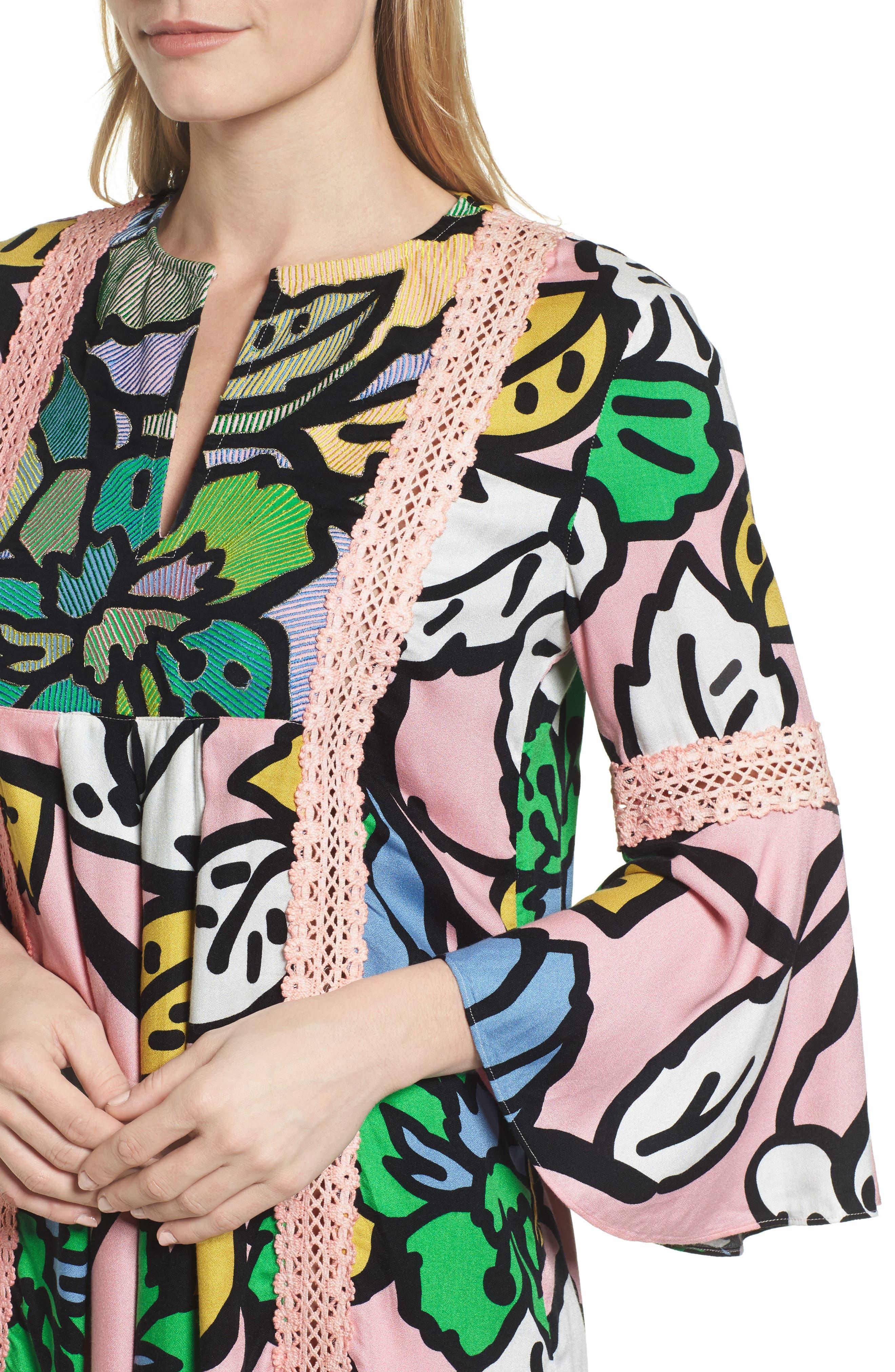 Ancona Mod Print Shift Dress,                             Alternate thumbnail 4, color,
