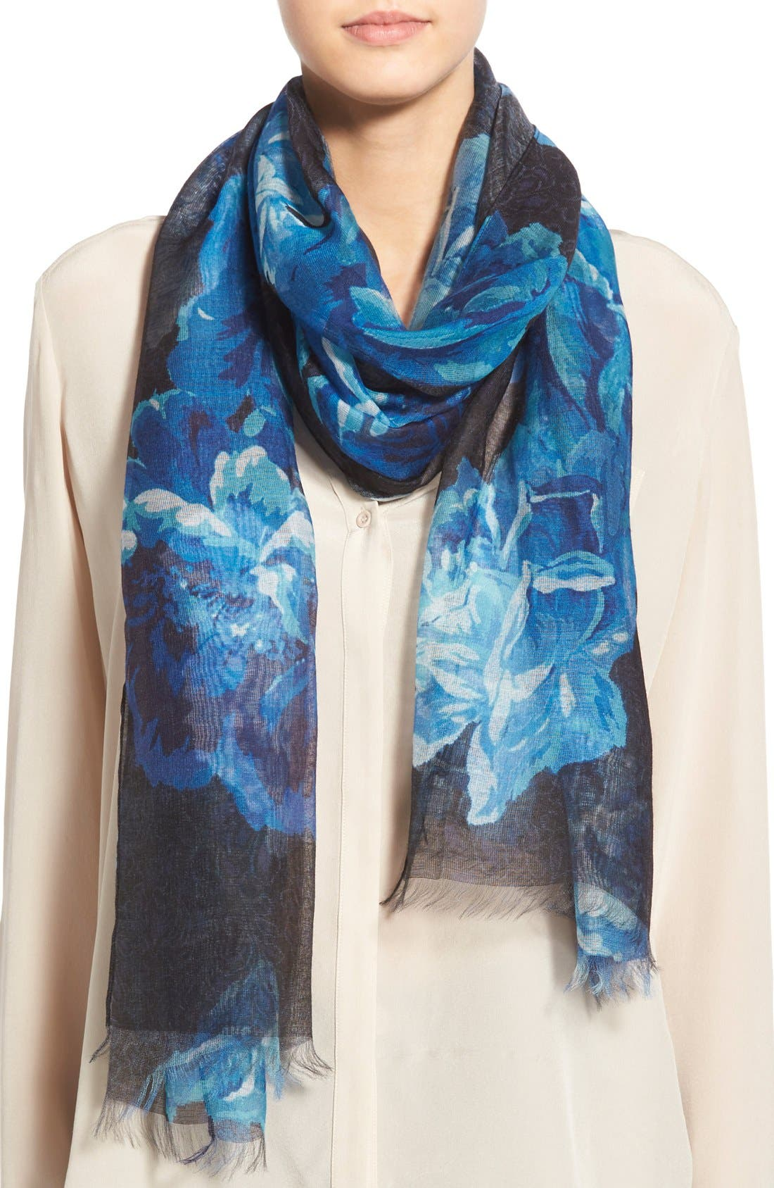 'Sheer Rose' Floral Print Modal & Silk Scarf,                             Main thumbnail 2, color,