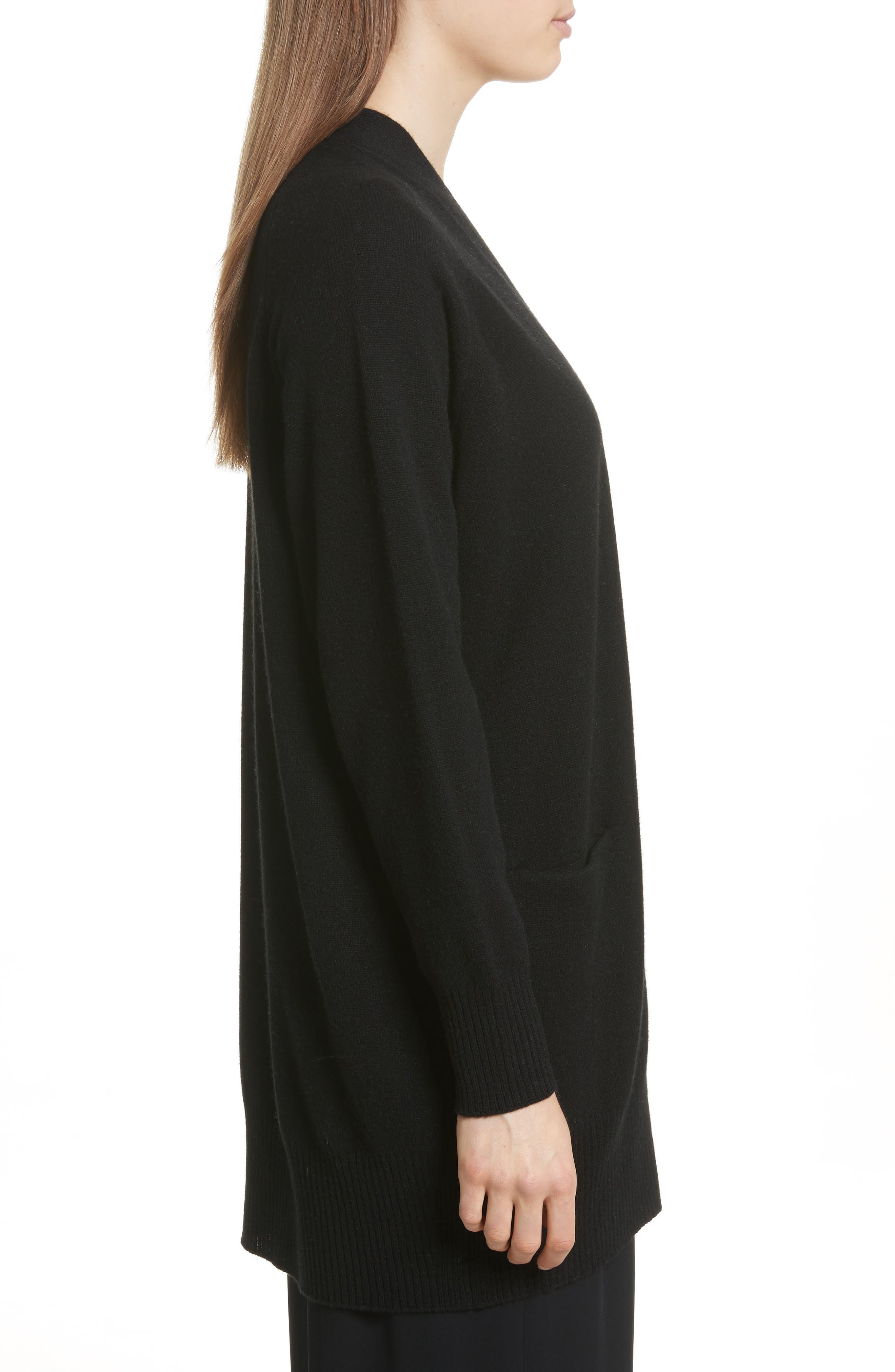 Open Front Cashmere Long Cardigan,                             Alternate thumbnail 3, color,                             BLACK