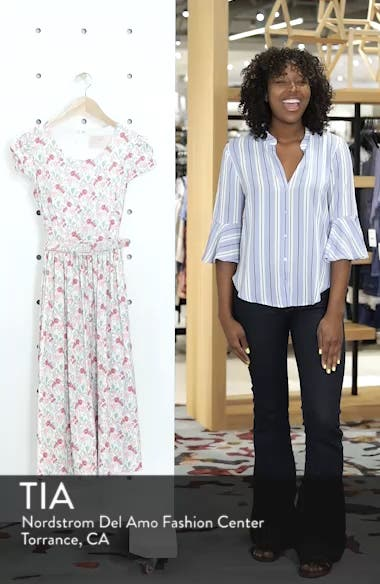 Packed Bouquet Print Stretch Cotton Dress, sales video thumbnail