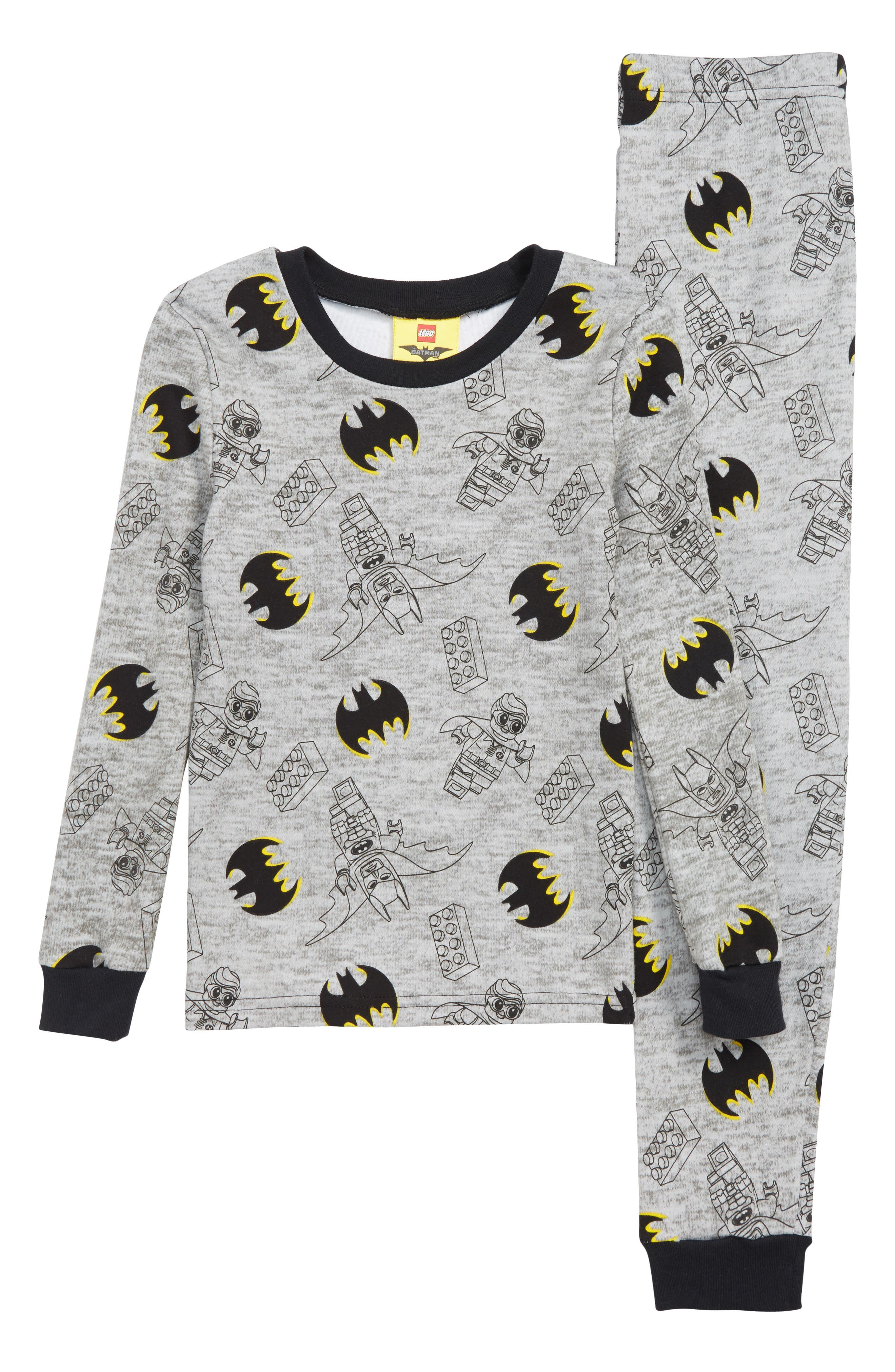 Batman Fitted Two-Piece Pajamas,                             Main thumbnail 1, color,                             GRY/ BLK