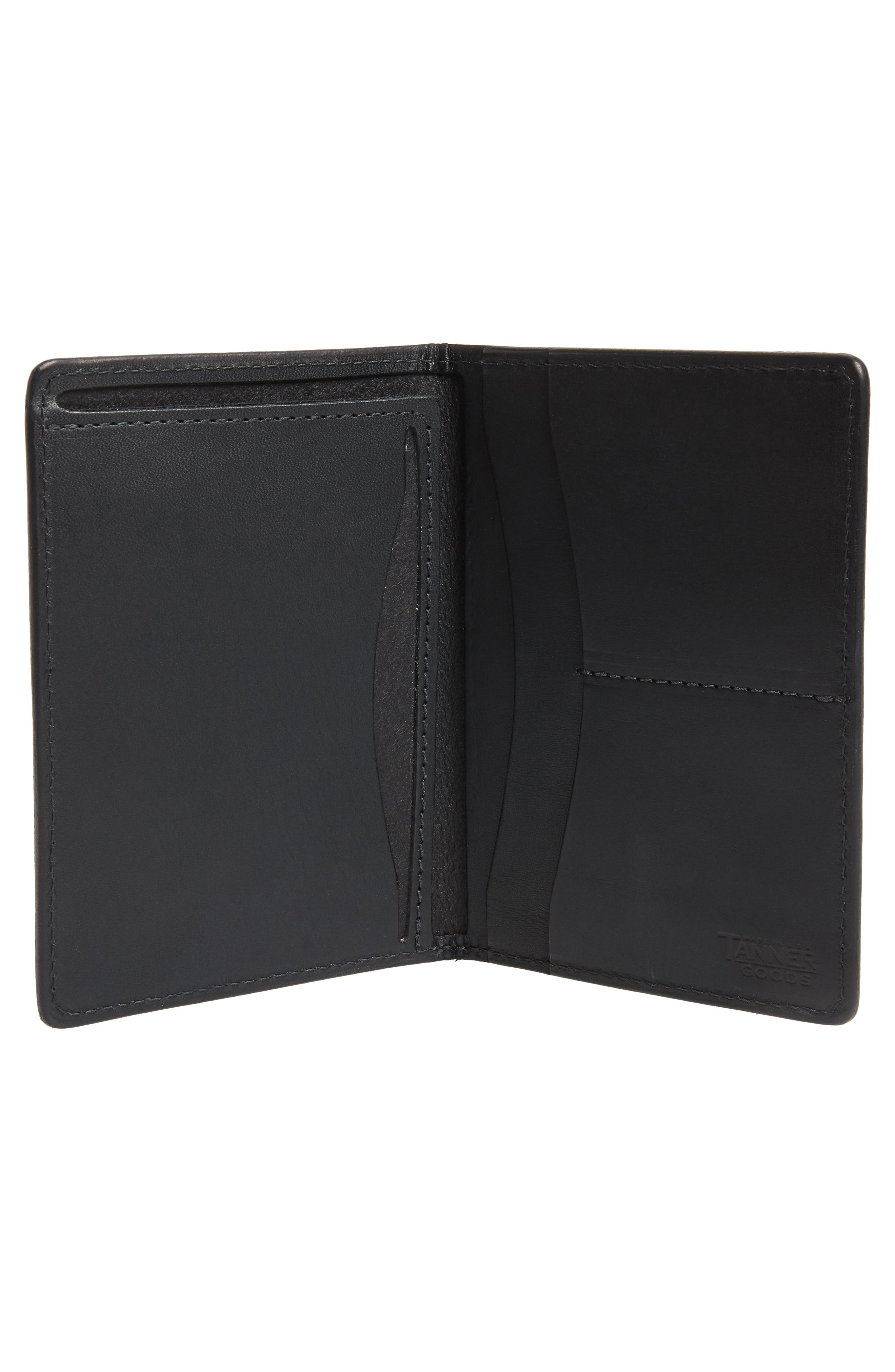 Leather Travel Wallet,                             Alternate thumbnail 2, color,                             BLACK