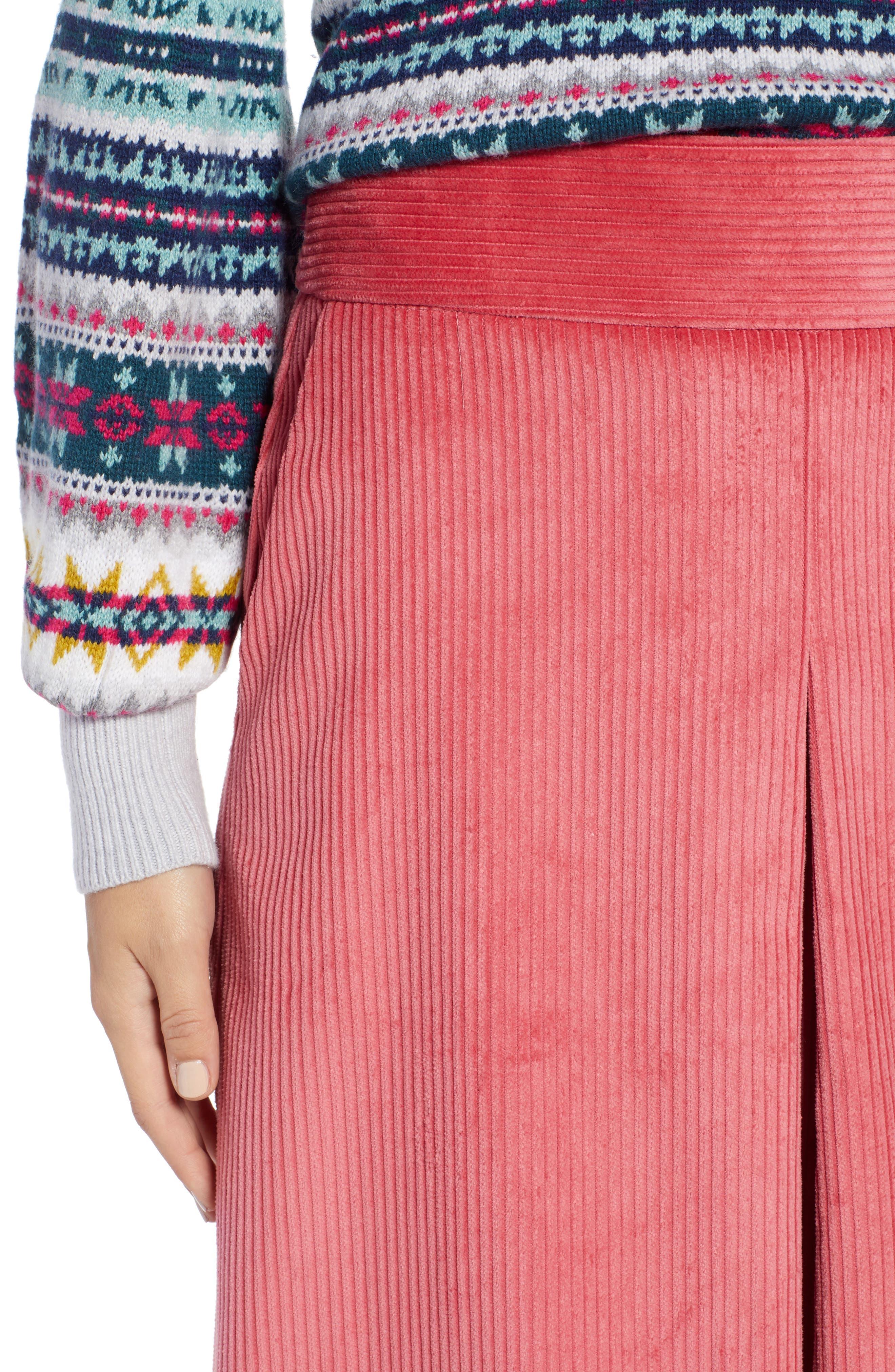 Corduroy Knee Length Skirt,                             Alternate thumbnail 4, color,                             660