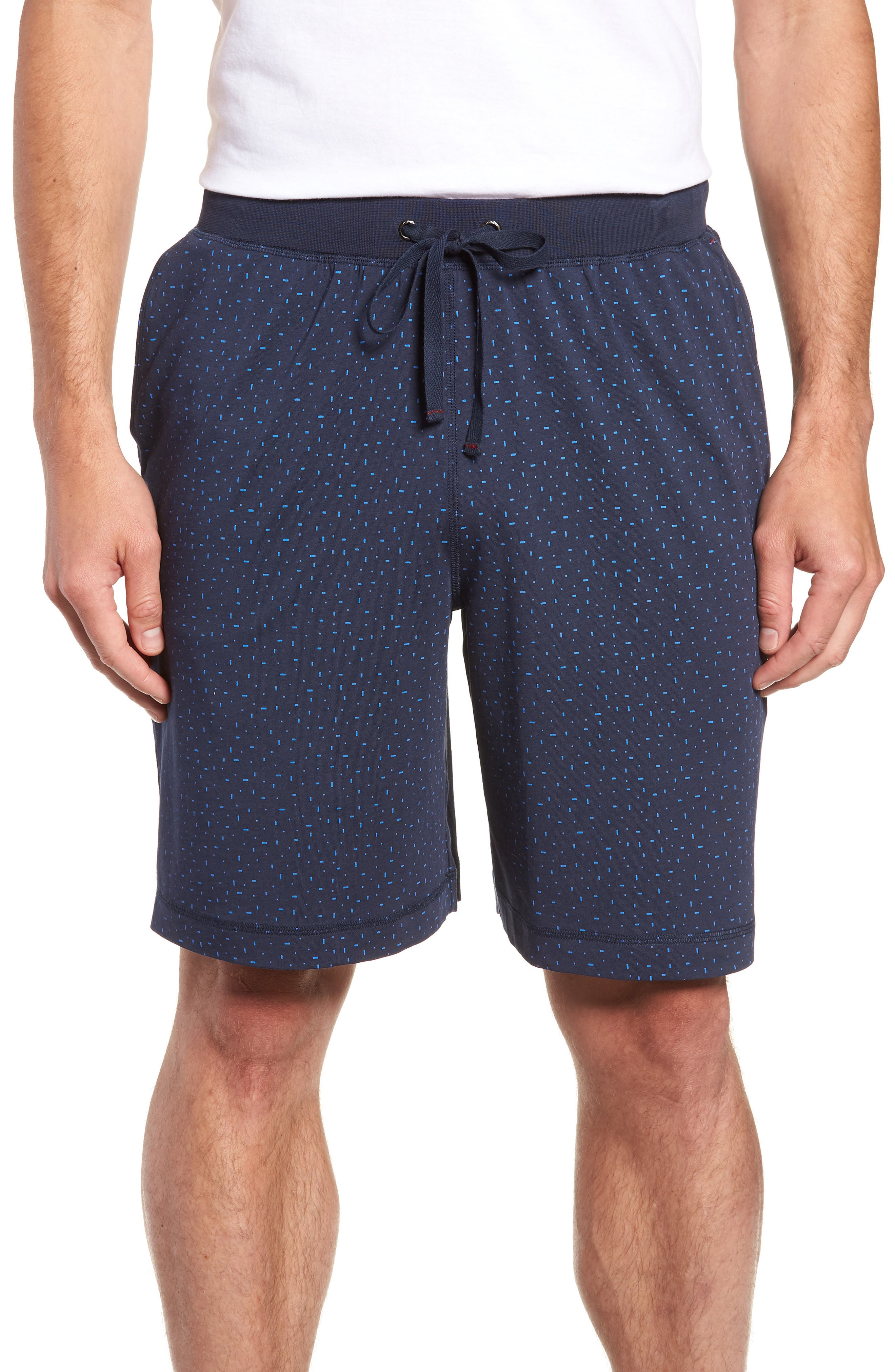 Print Cotton Blend Lounge Shorts,                         Main,                         color, MIDNIGHT