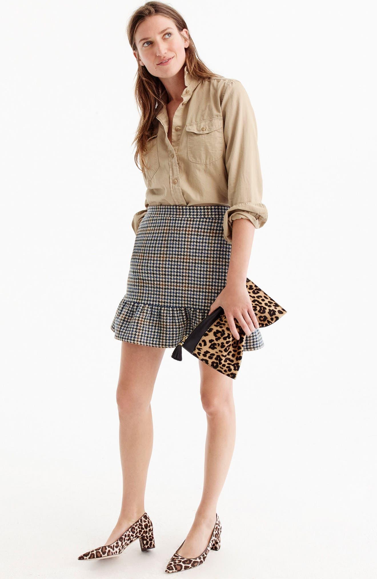 Ruffle Houndstooth Miniskirt,                             Alternate thumbnail 3, color,