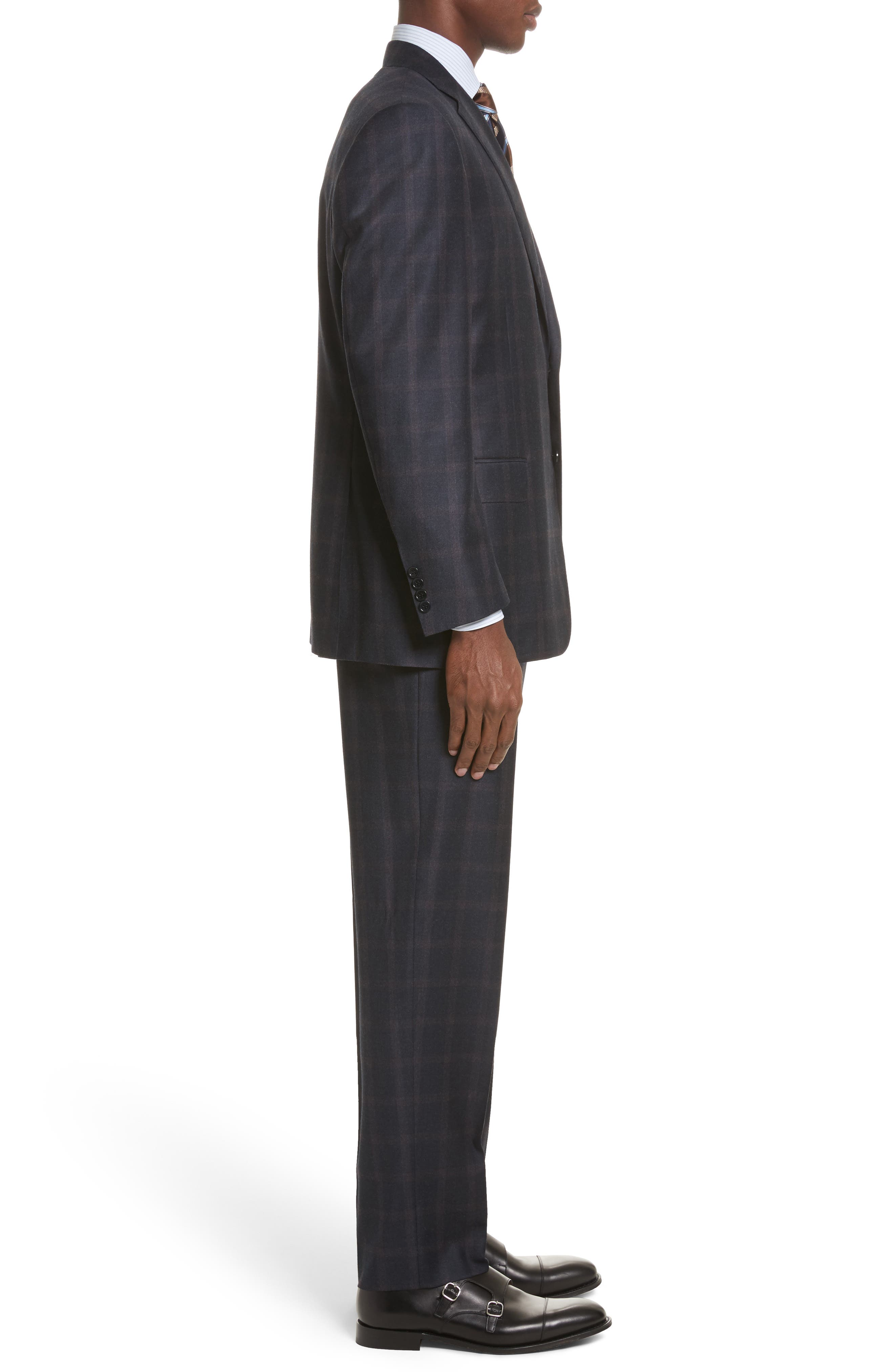 Classic Fit Plaid Wool Suit,                             Alternate thumbnail 3, color,                             420