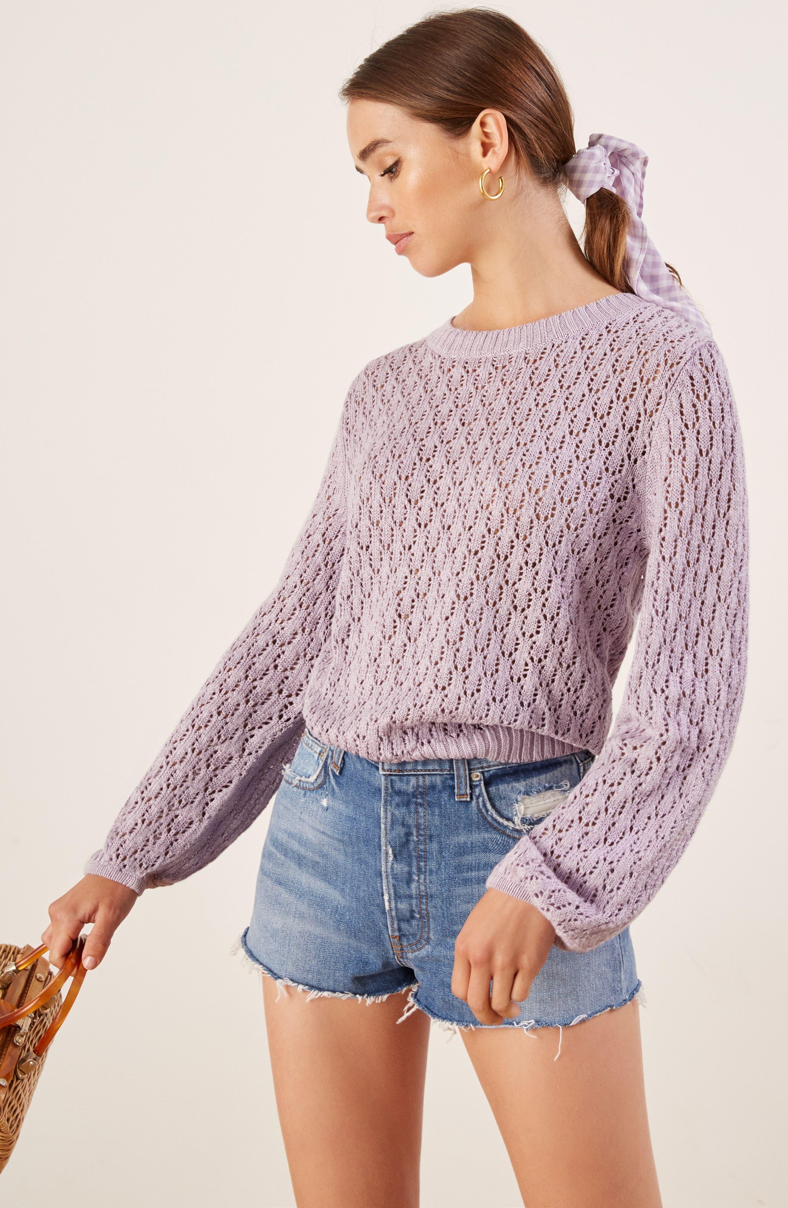 Rose Pointelle Linen Sweater,                             Alternate thumbnail 2, color,                             LILAC