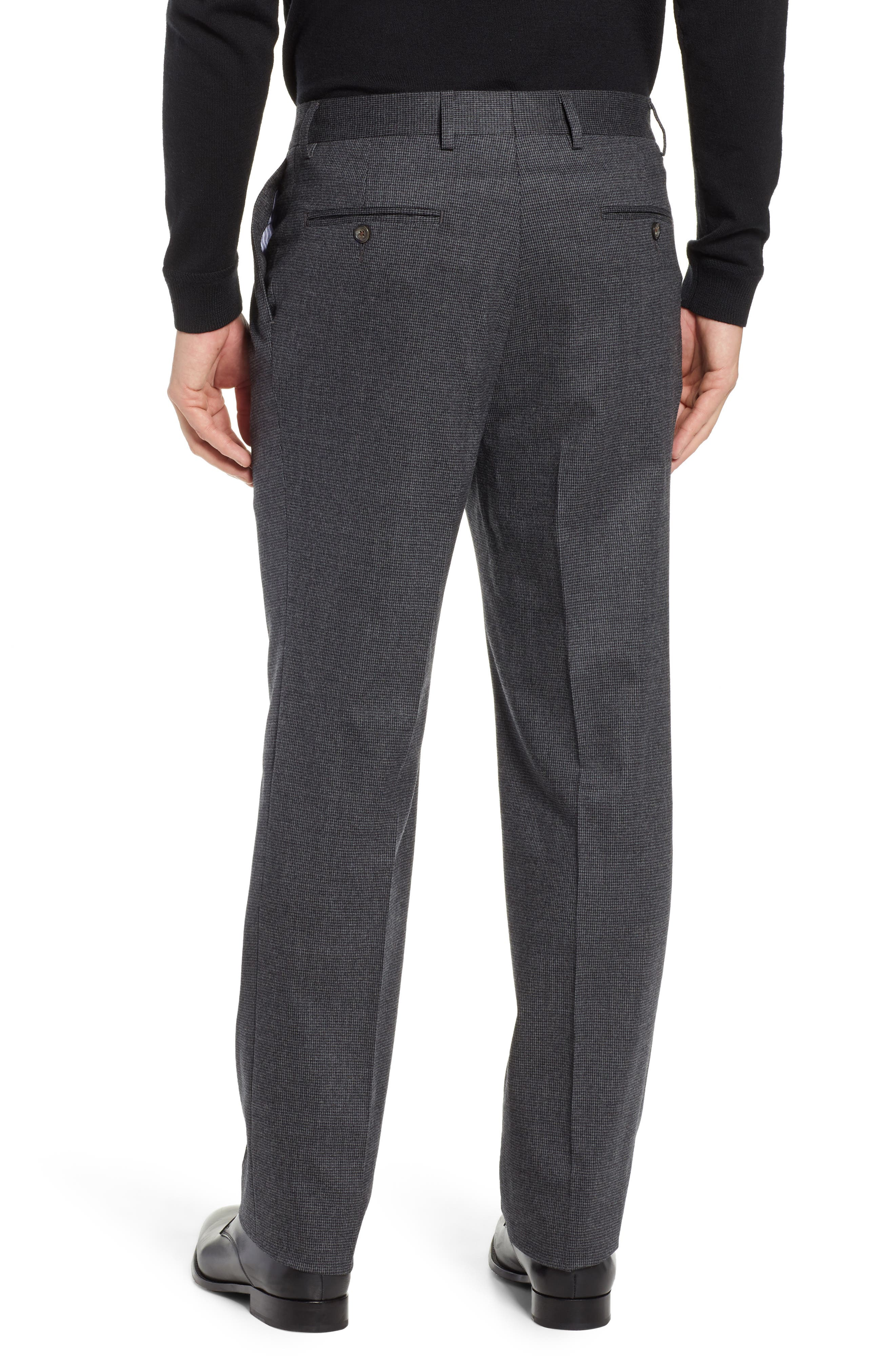 Pleated Stretch Houndstooth Wool Trousers,                             Alternate thumbnail 2, color,                             GREY