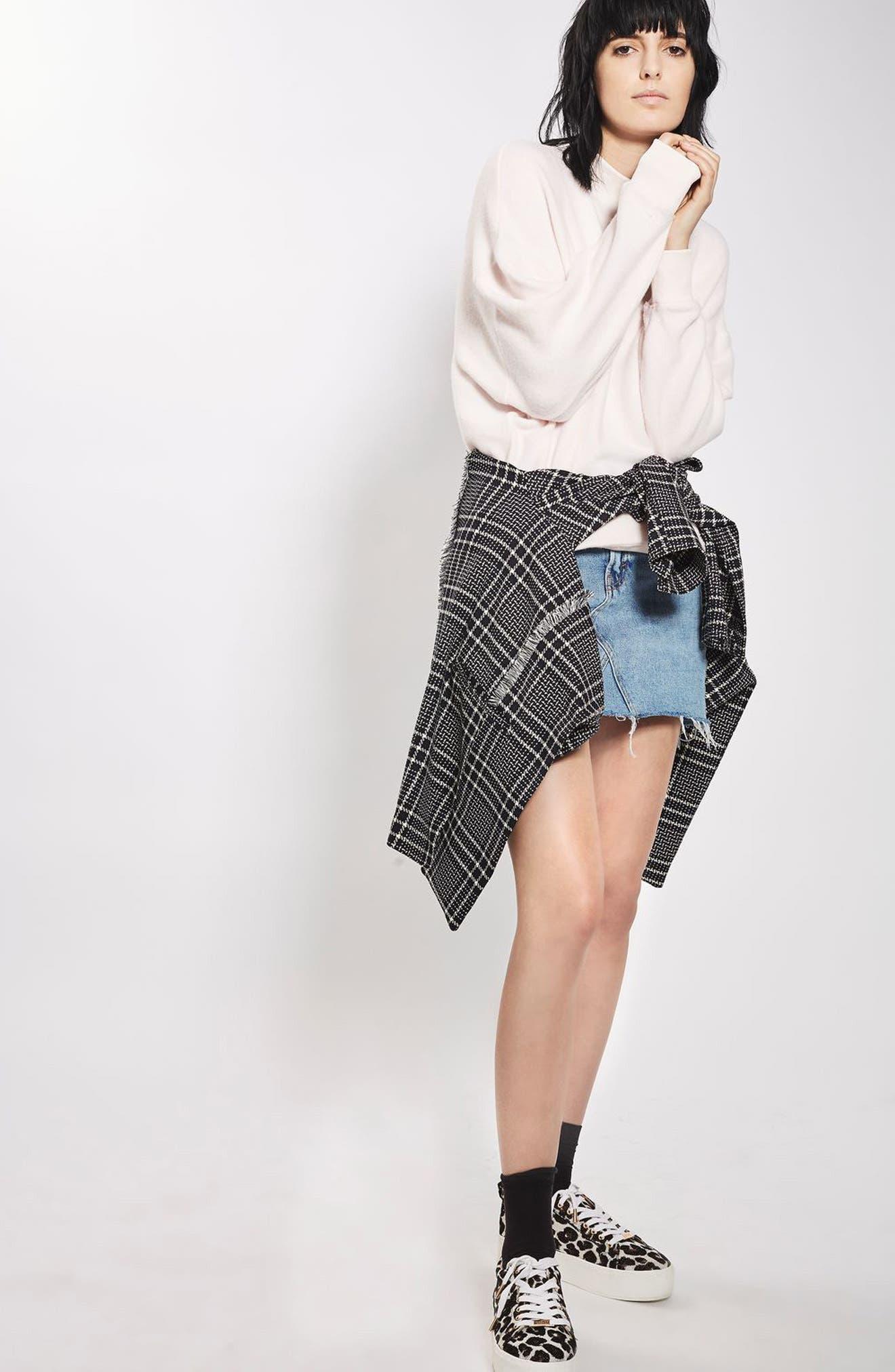 TOPSHOP,                             Denim Miniskirt,                             Alternate thumbnail 4, color,                             400
