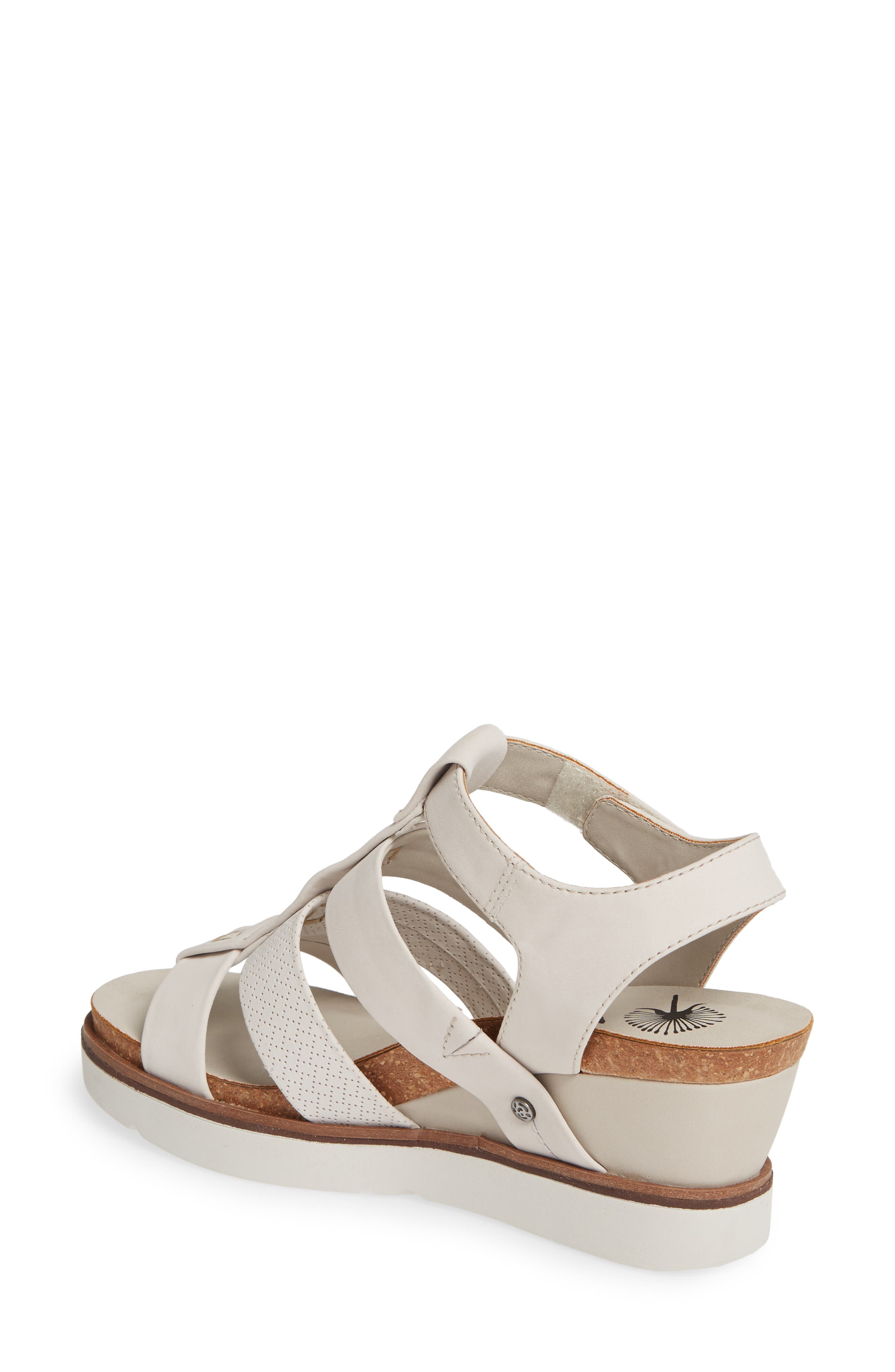 New Moon Wedge Sandal,                             Alternate thumbnail 2, color,                             DOVE GREY LEATHER
