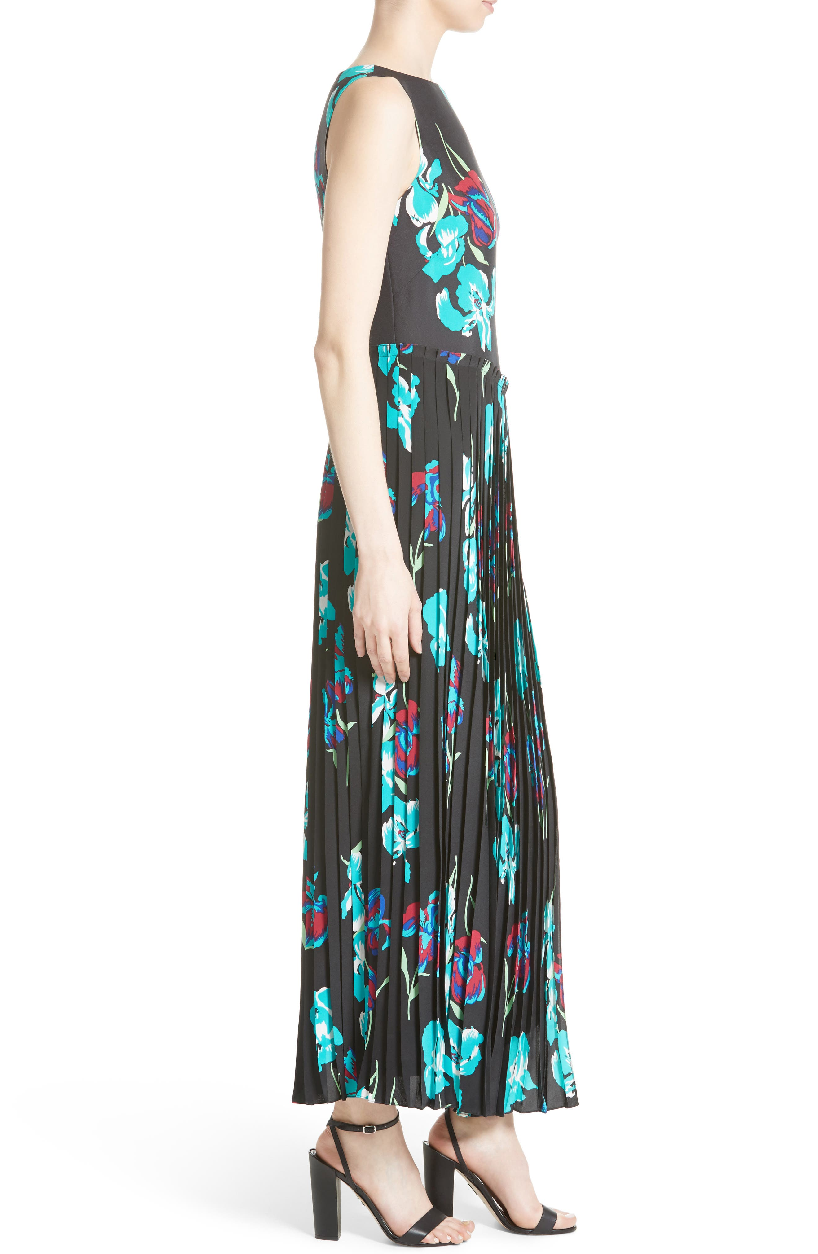 Print Silk Pleated Overlay Dress,                             Alternate thumbnail 3, color,                             009