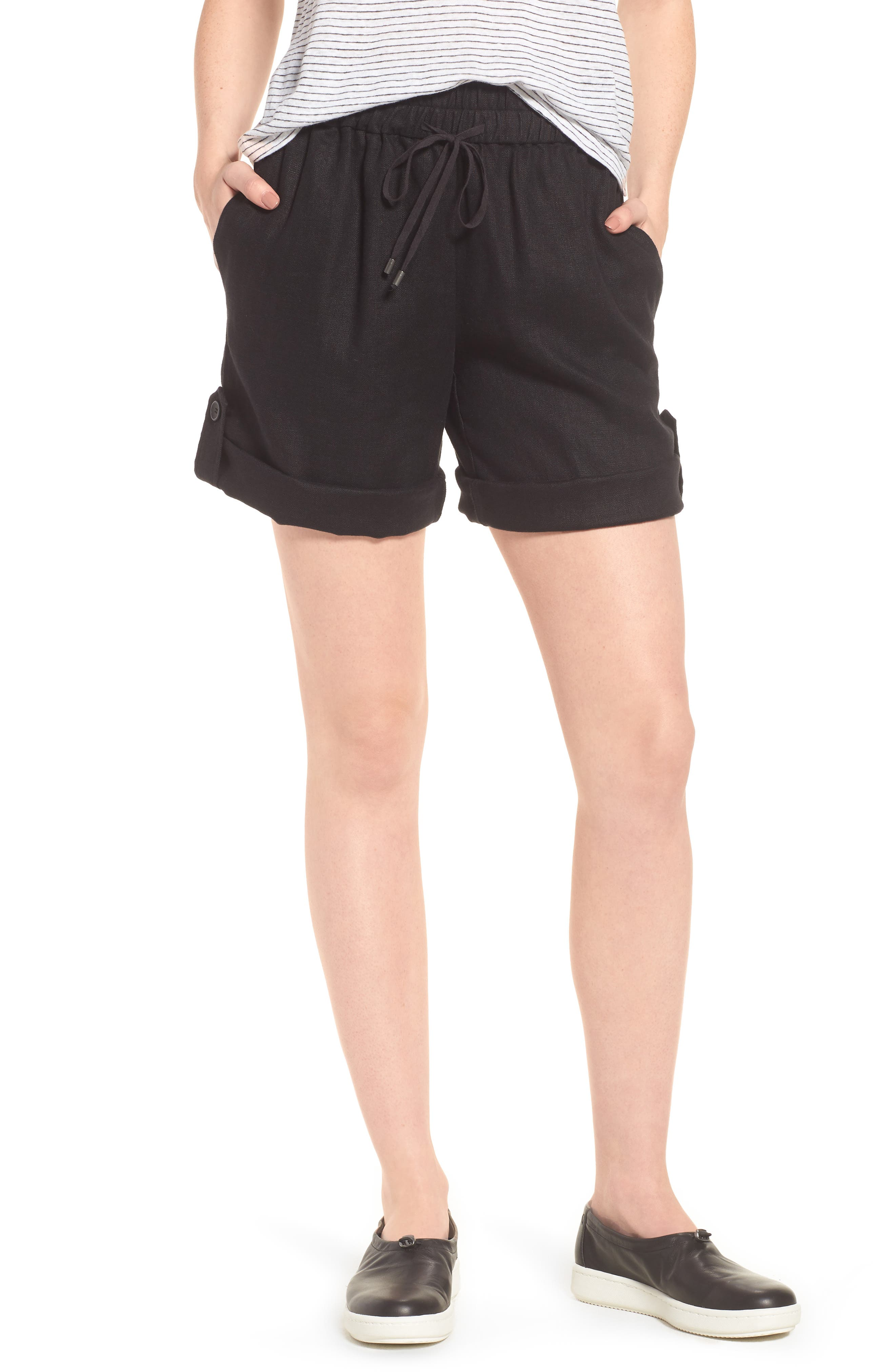 Rolled Organic Linen Shorts,                             Main thumbnail 1, color,                             001