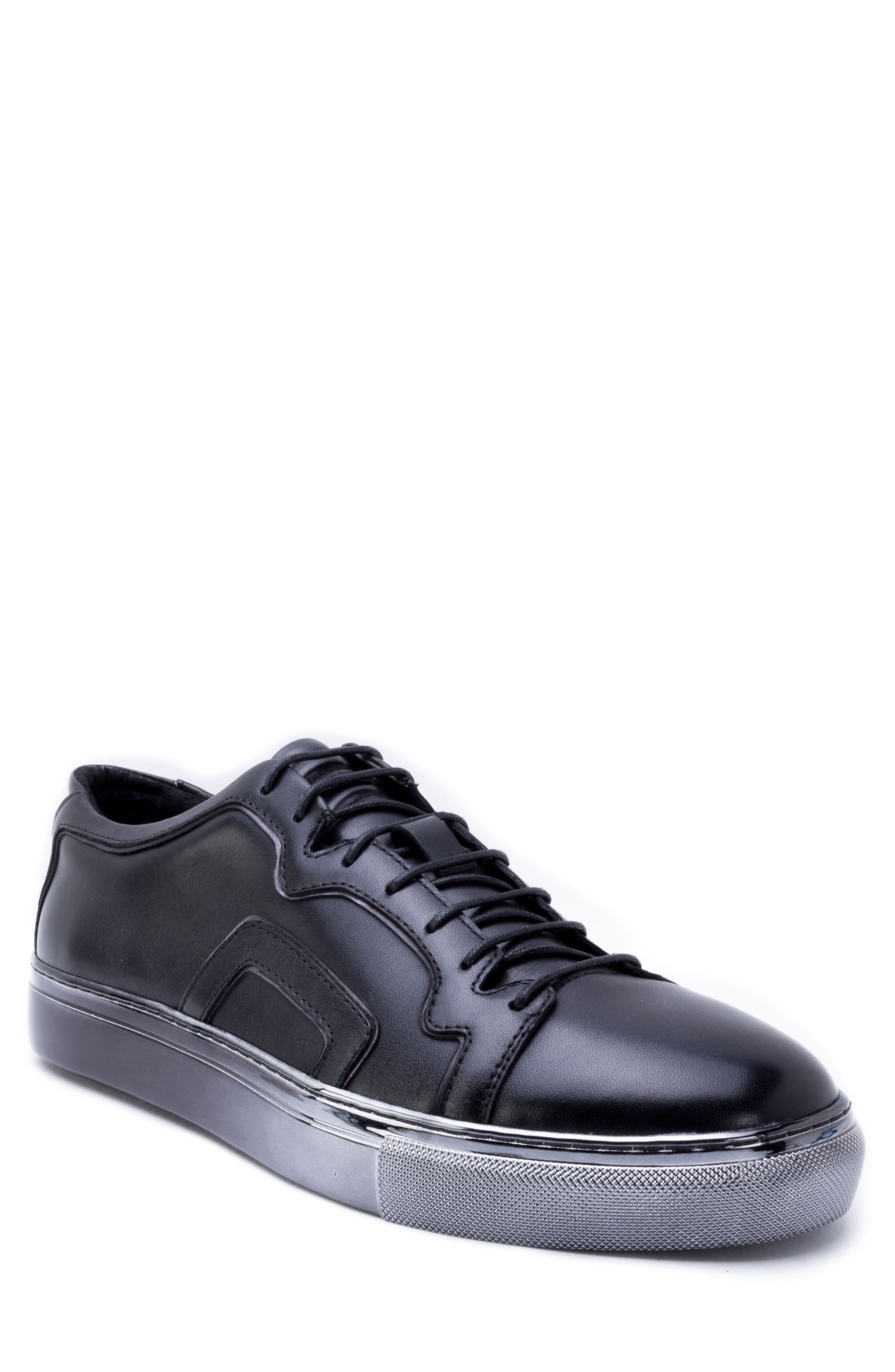 Caine Sneaker,                             Main thumbnail 1, color,                             BLACK LEATHER