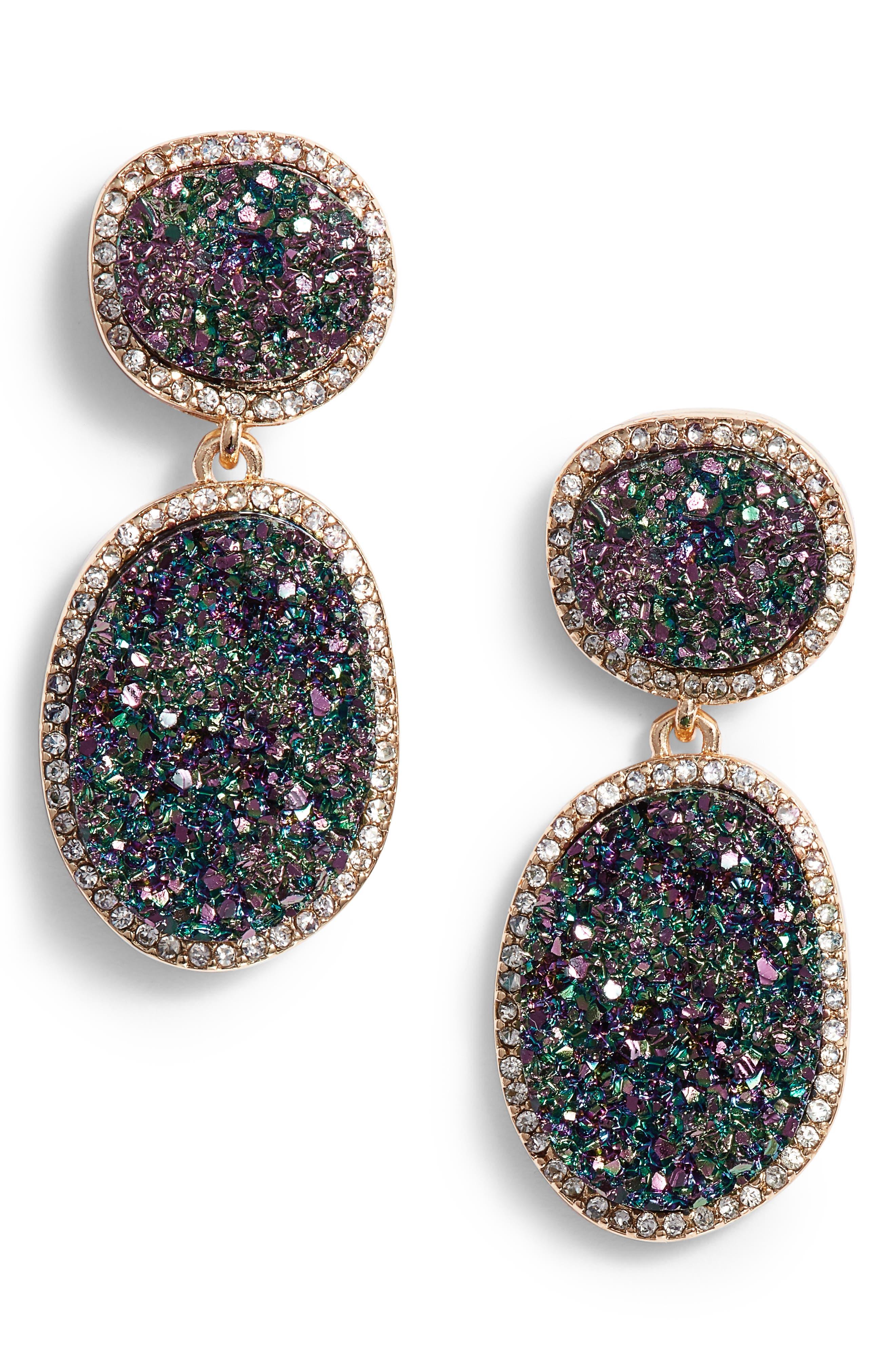 Krystal Faux Drusy Drop Earrings,                         Main,                         color, OILSLICK