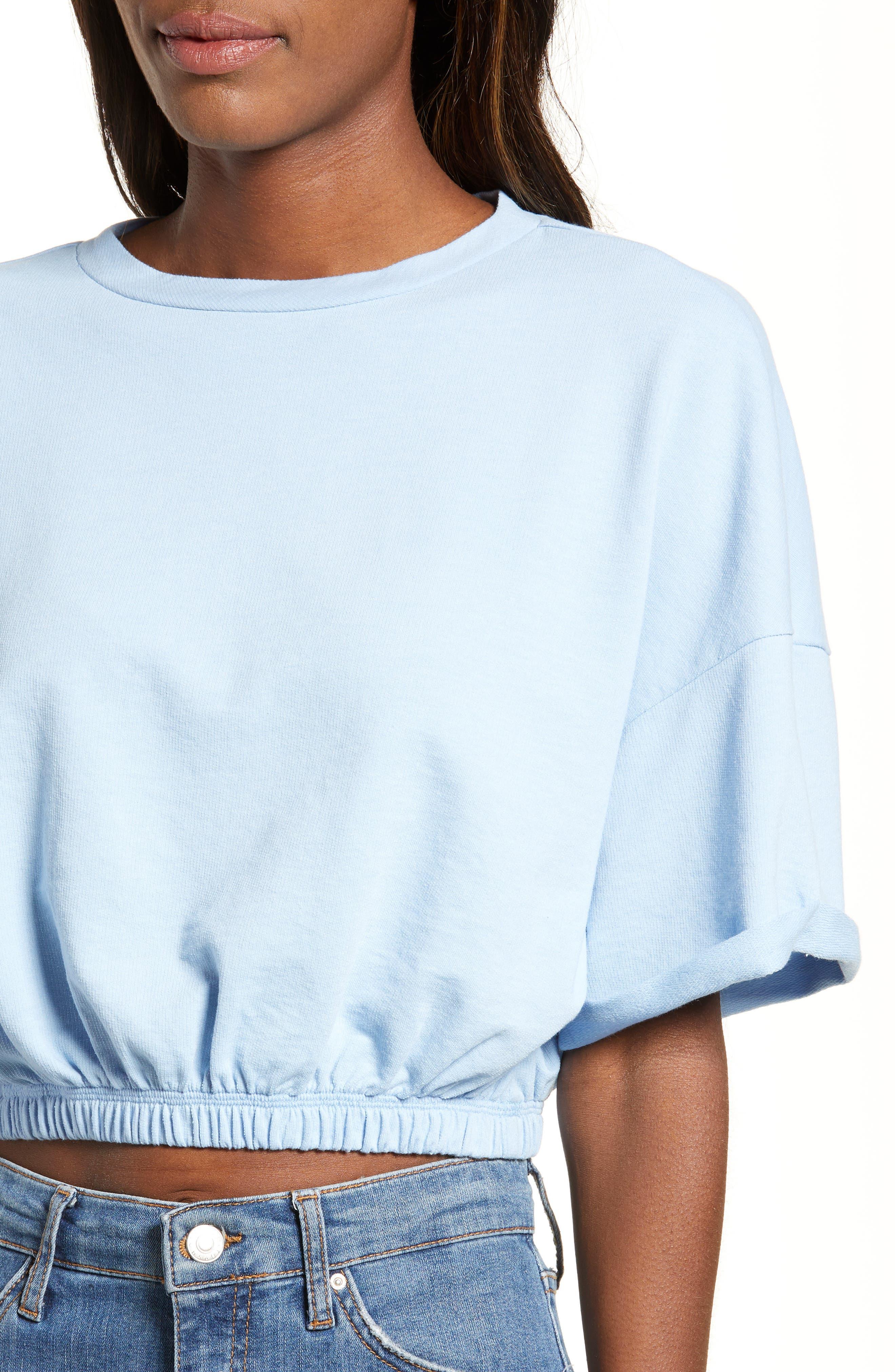 BP.,                             Vintage Wash Crop Short Sleeve Sweatshirt,                             Alternate thumbnail 4, color,                             BLUE PLACID