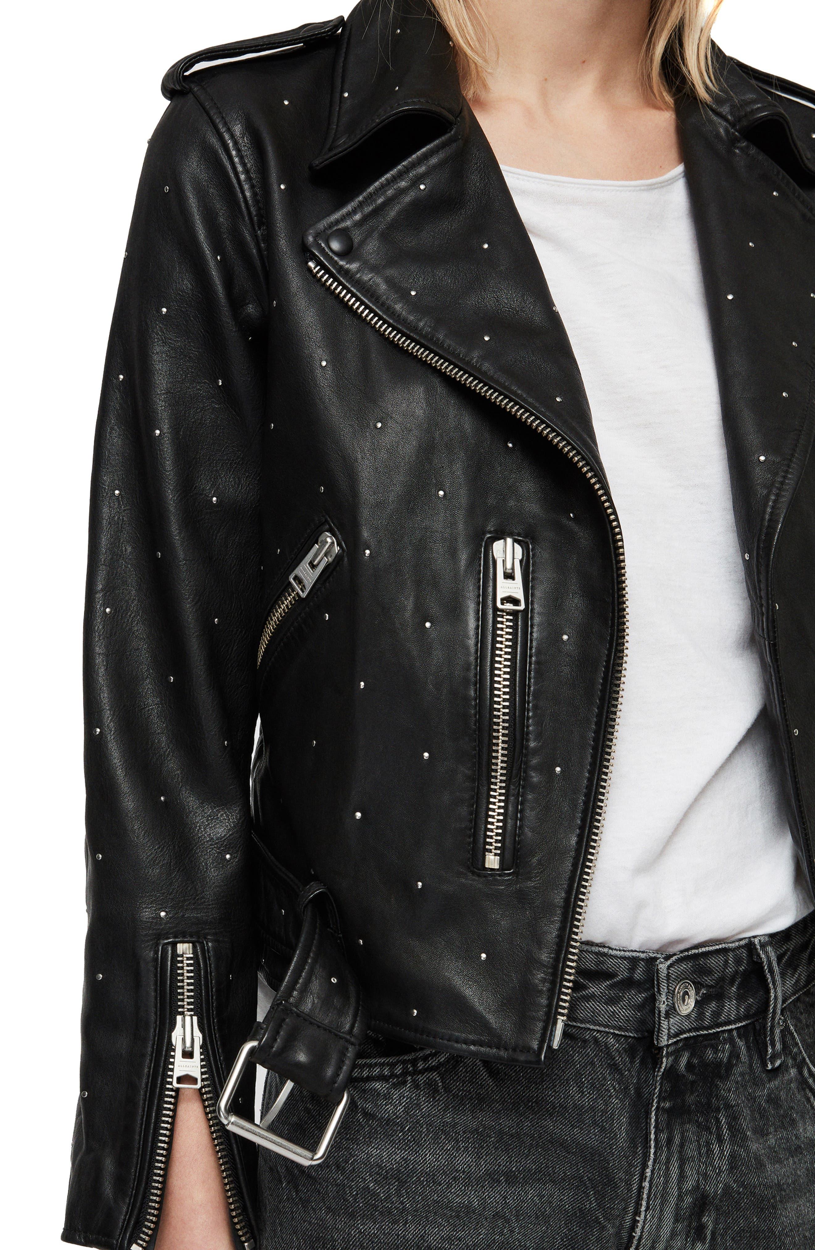 Balfern Studded Leather Biker Jacket,                             Alternate thumbnail 4, color,                             BLACK