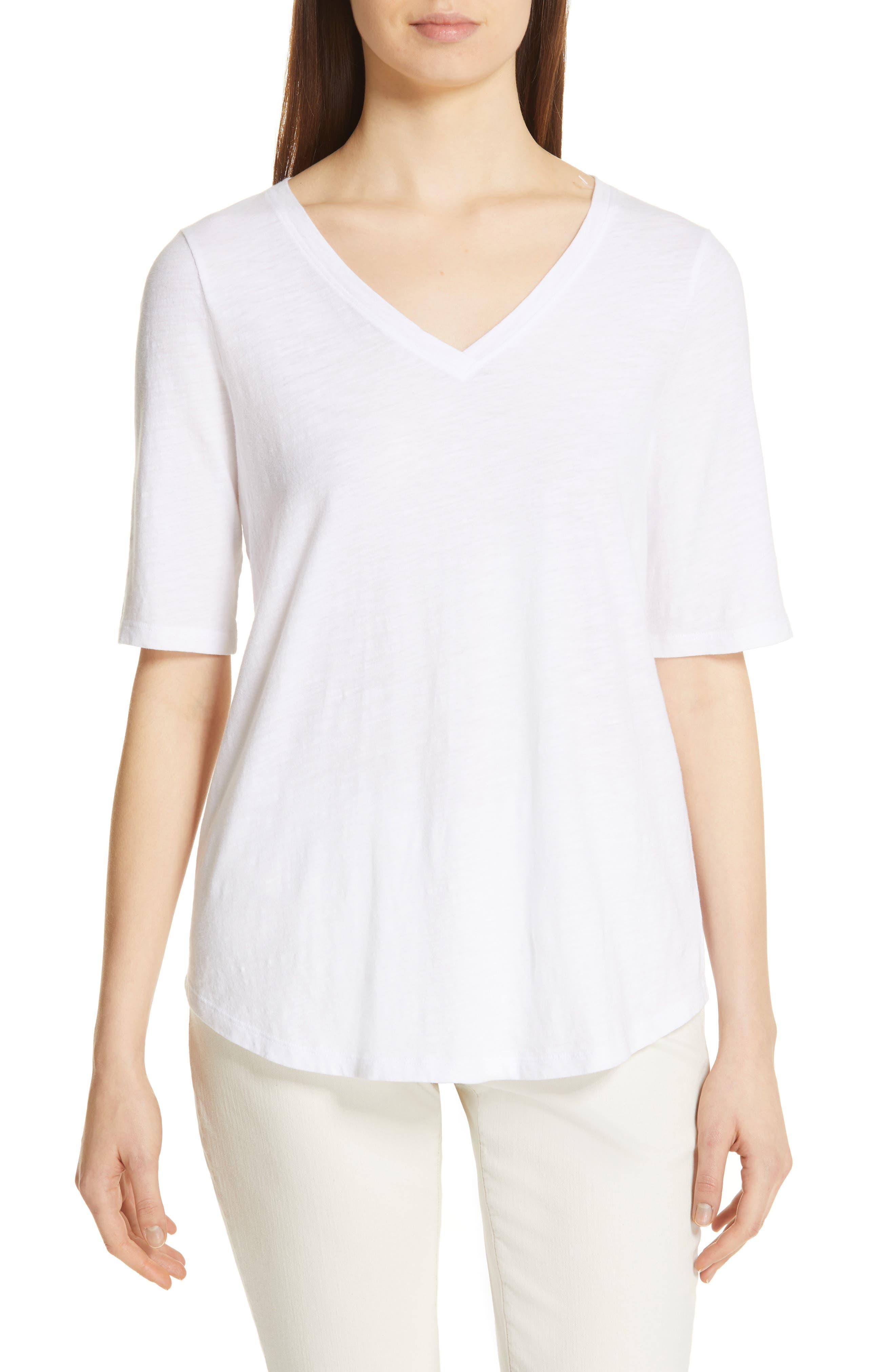 Eileen Fisher Organic Cotton V-Neck Tee, White