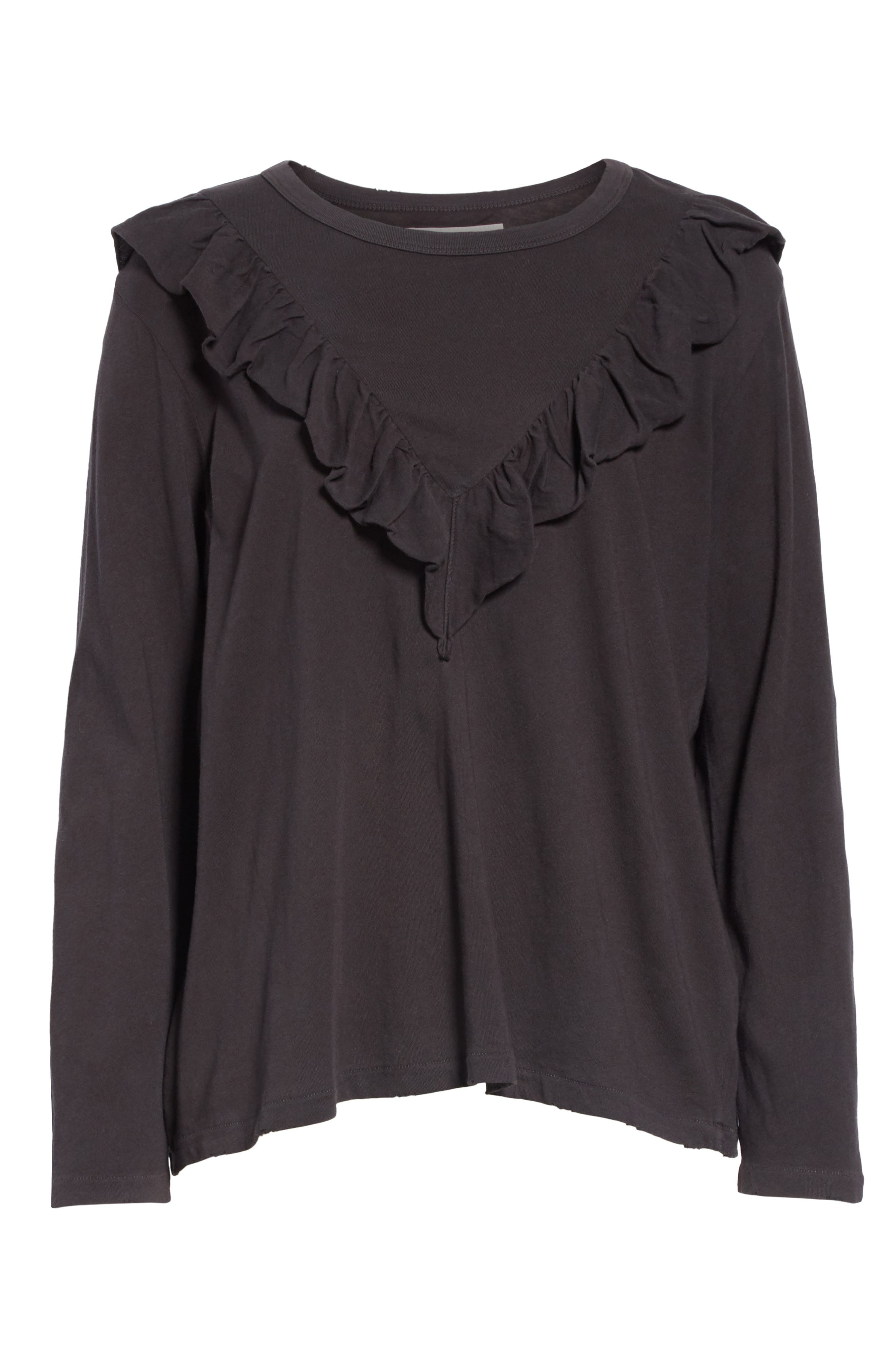 The Tuxedo Ruffle Tee,                             Alternate thumbnail 6, color,                             ALMOST BLACK
