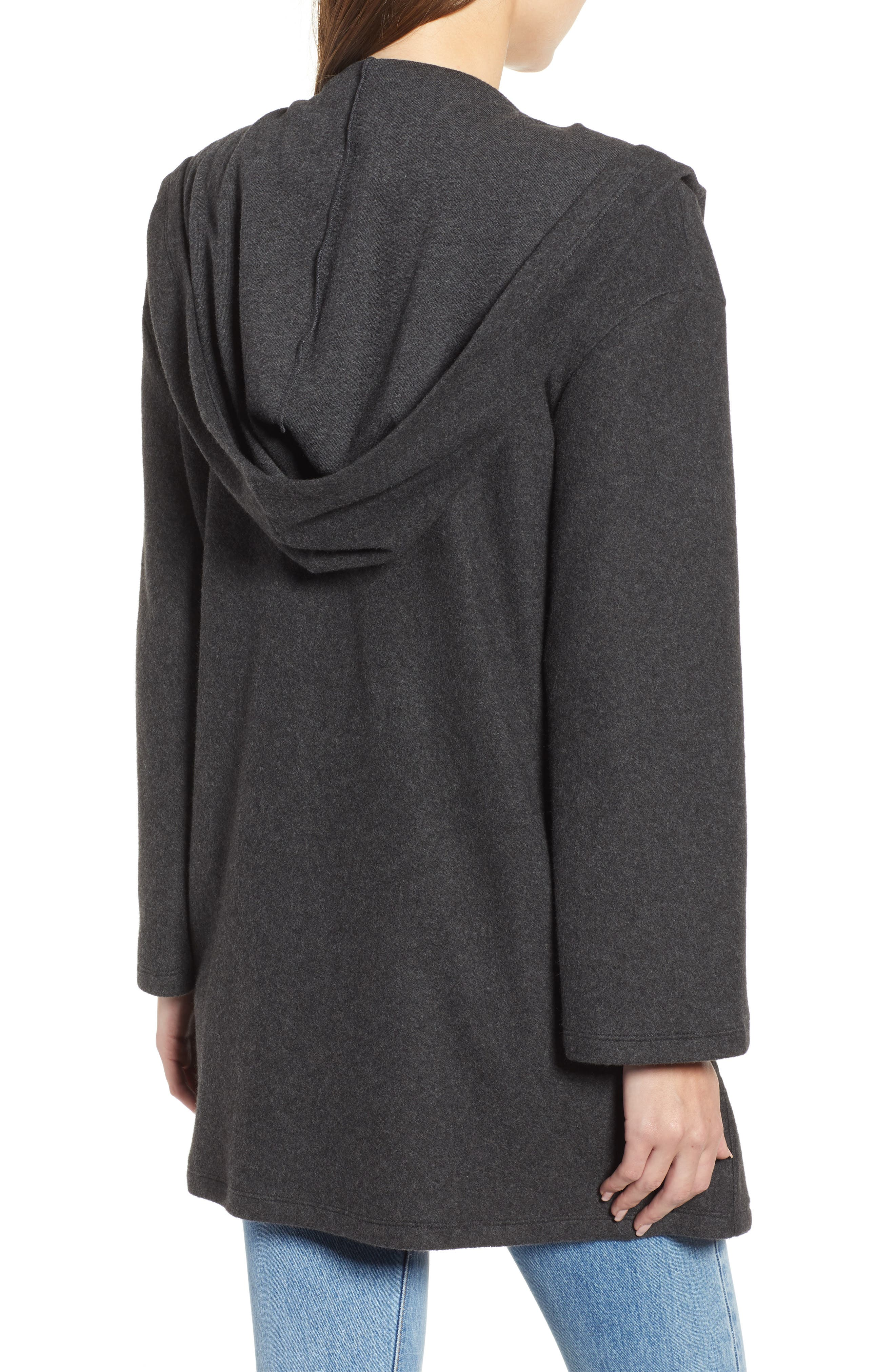 Hooded Open Front Cardigan,                             Alternate thumbnail 2, color,                             GREY DARK CHARCOAL HEATHER