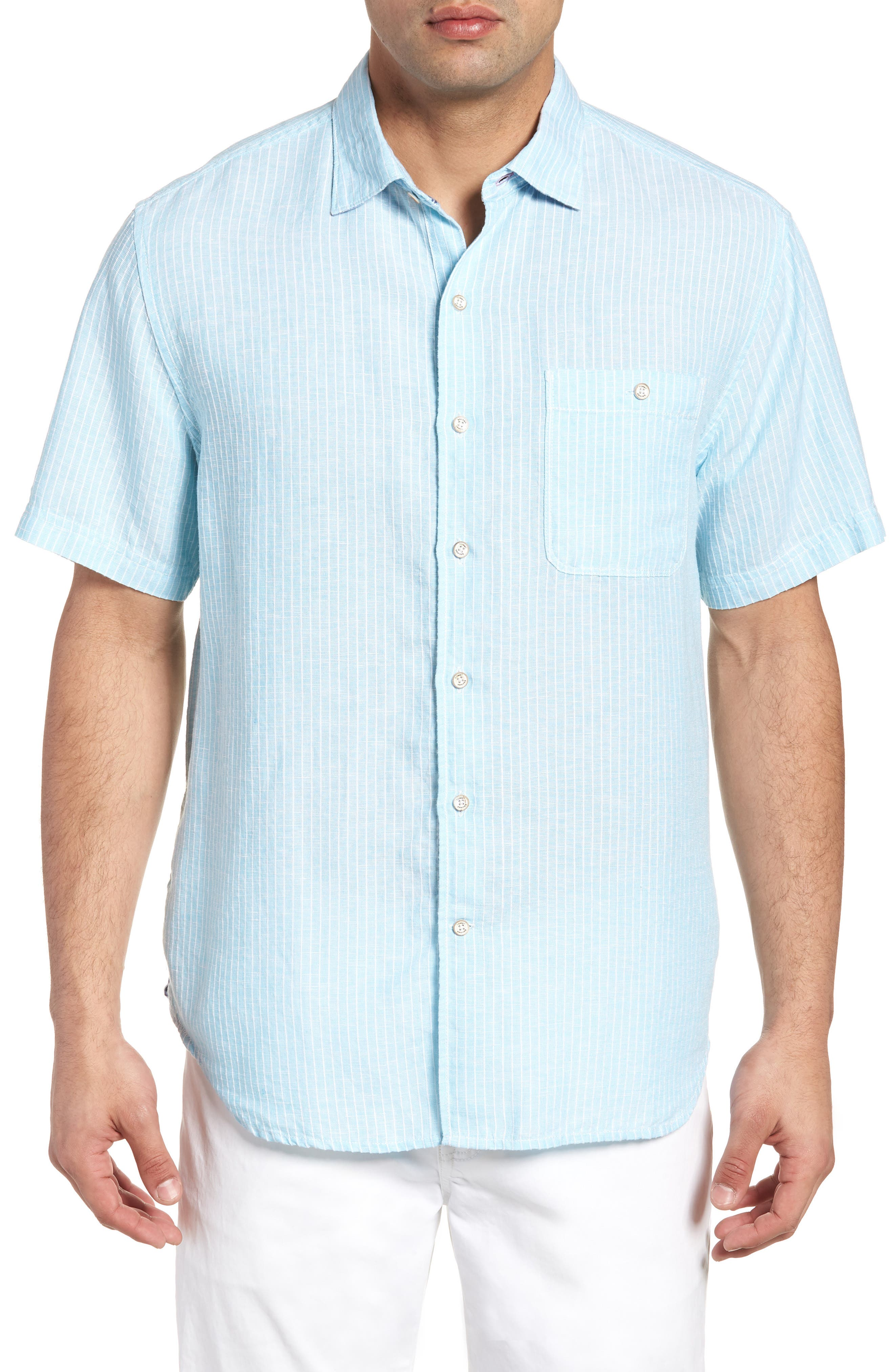 Sand Linen Dobby Stripe Sport Shirt,                         Main,                         color, BLUE RADIANCE