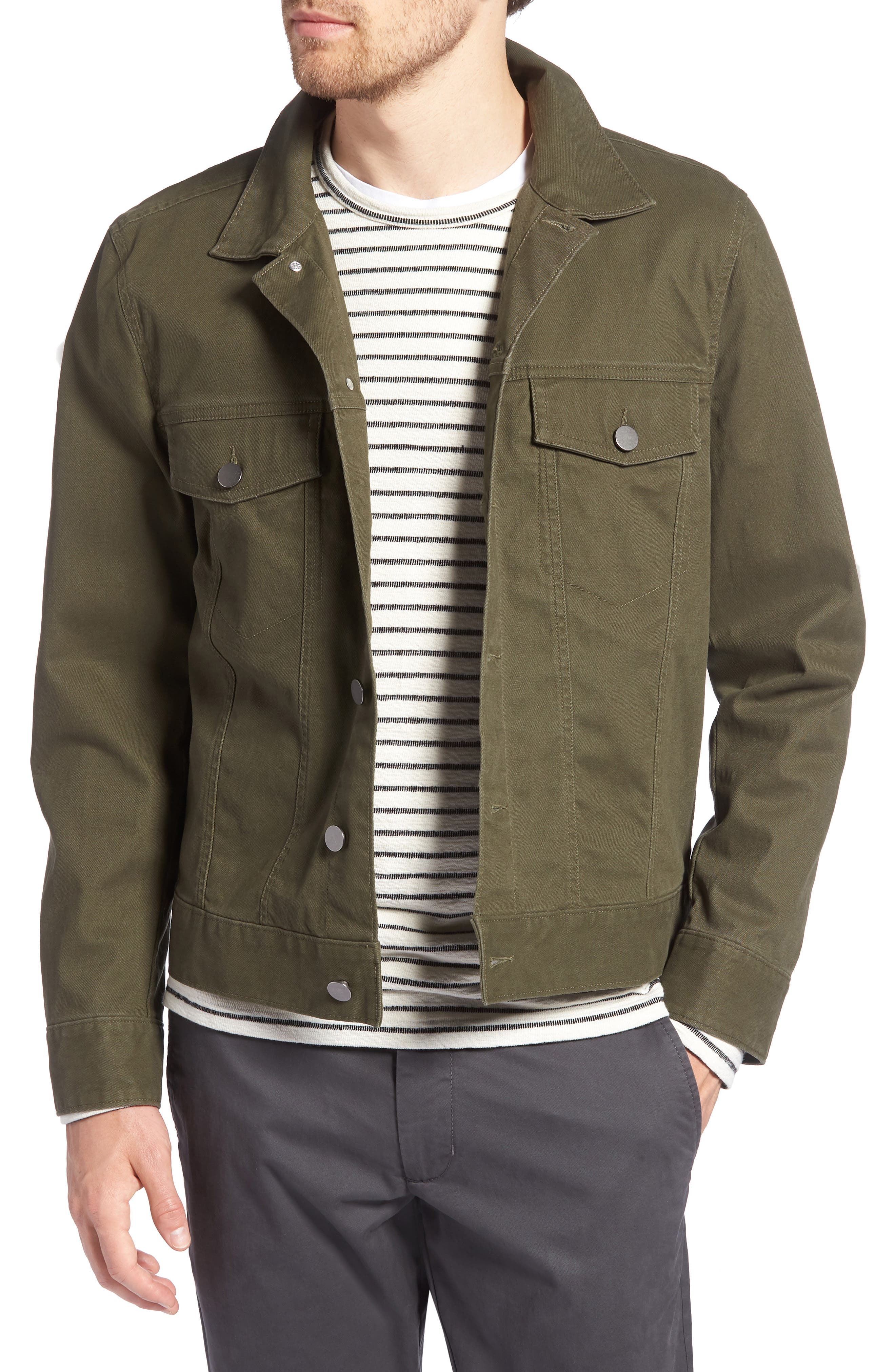 Stretch Cotton Trucker Jacket,                             Main thumbnail 1, color,                             GREEN FOREST