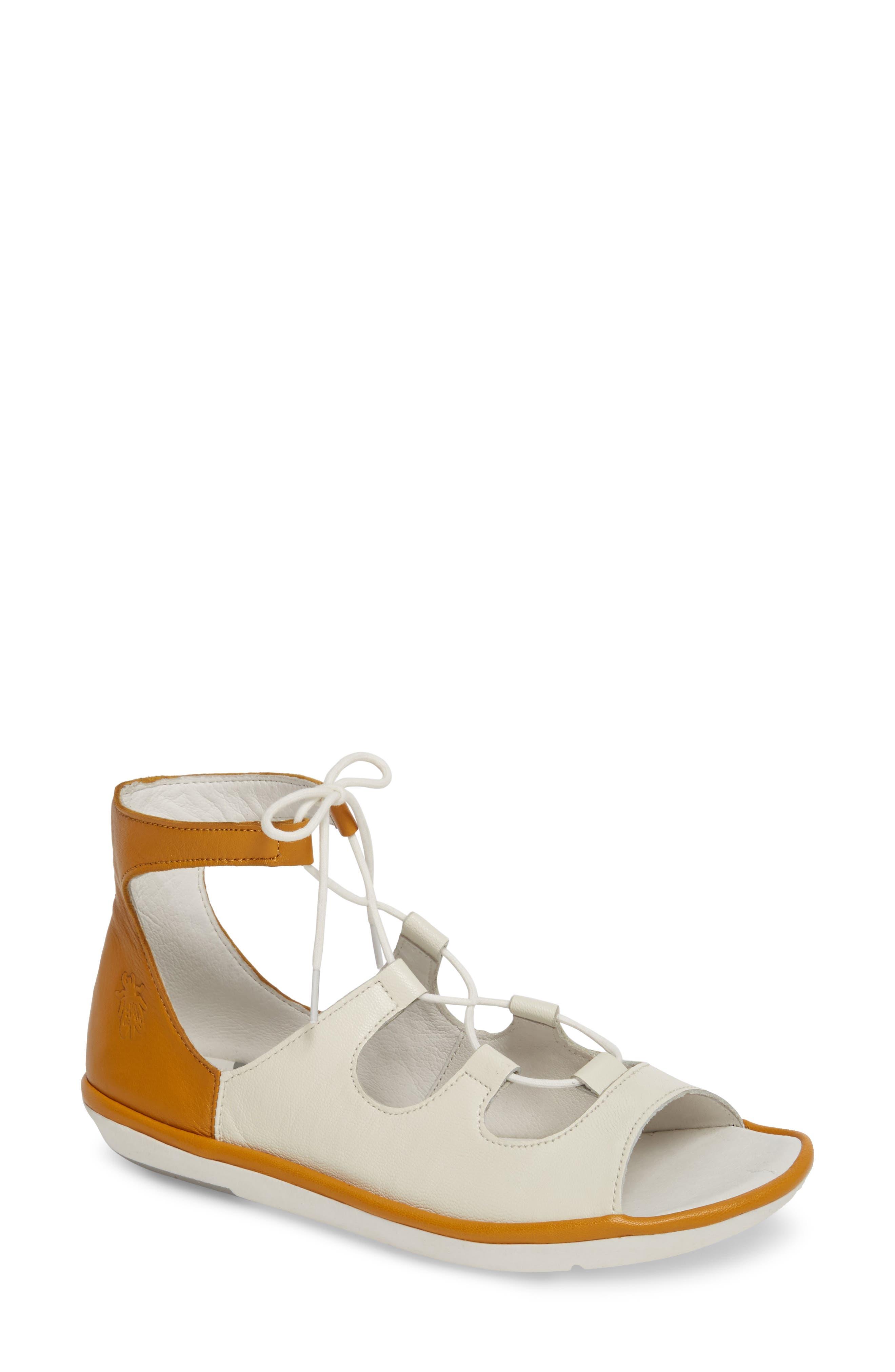 Fly London Mura Ghillie Sandal - White