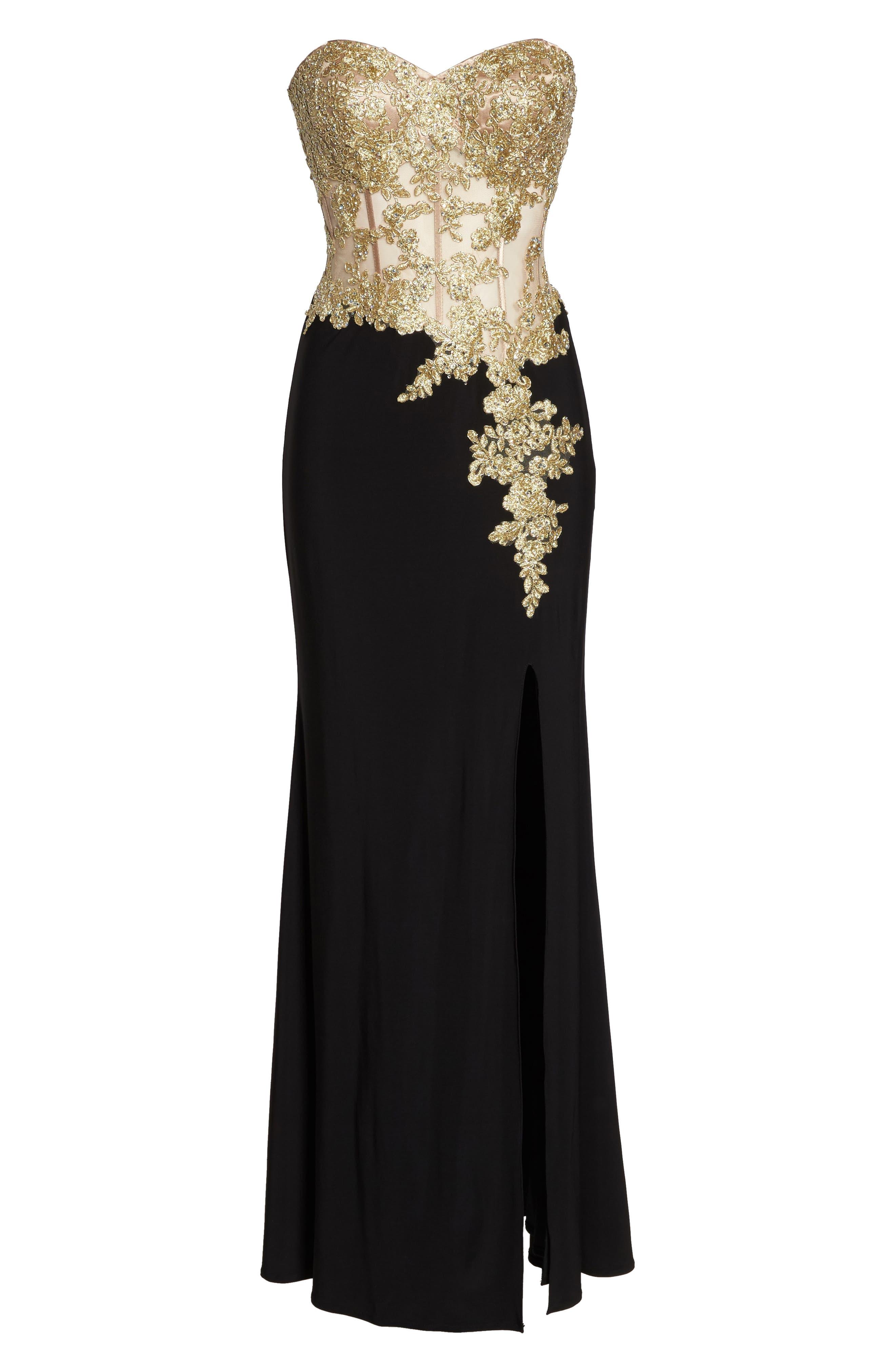 Appliqué Strapless Bustier Gown,                             Alternate thumbnail 6, color,                             GOLD/BLACK