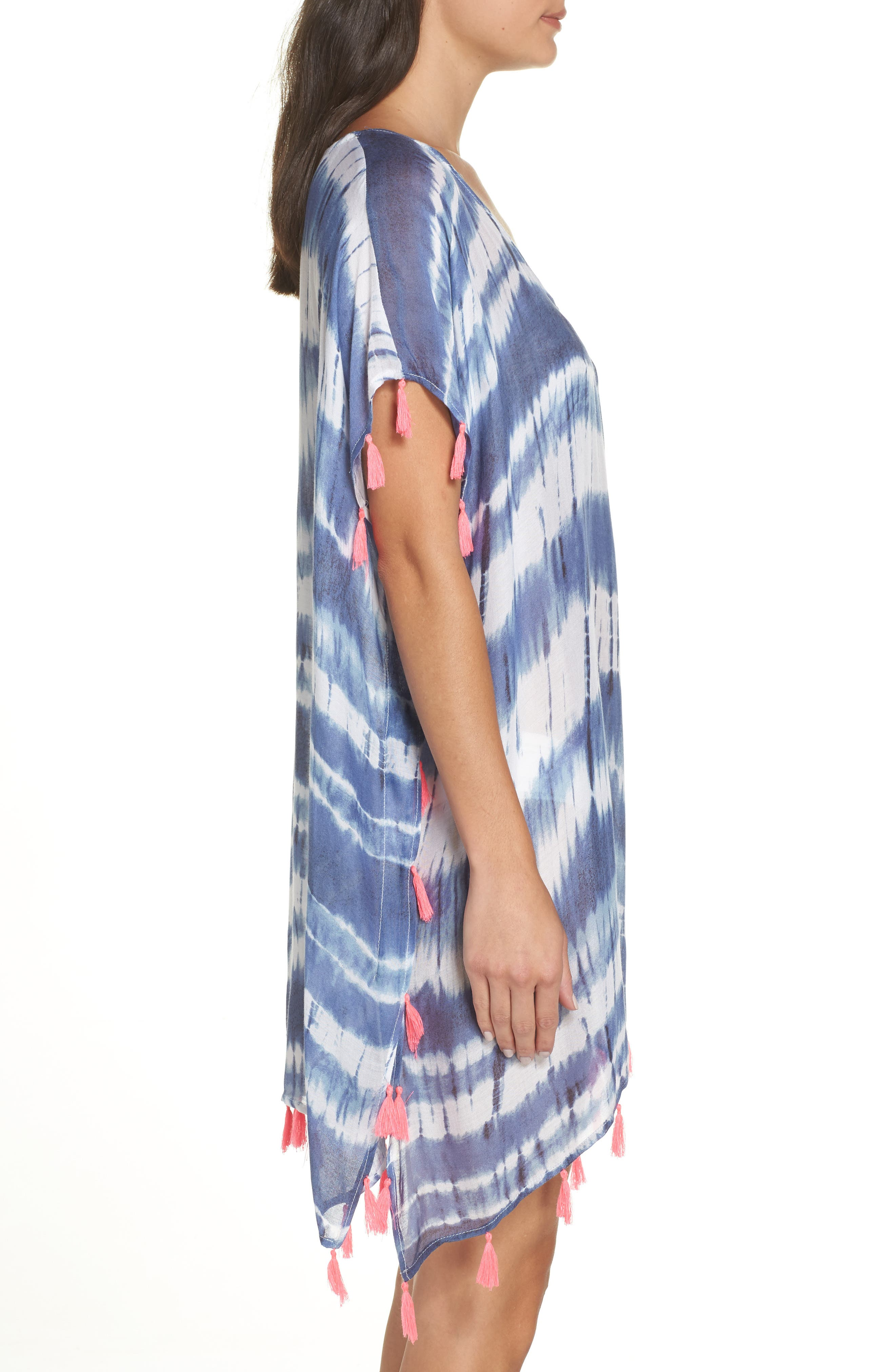 Stripe Tassel Cover-Up Poncho,                             Alternate thumbnail 3, color,                             DEEP MARINE