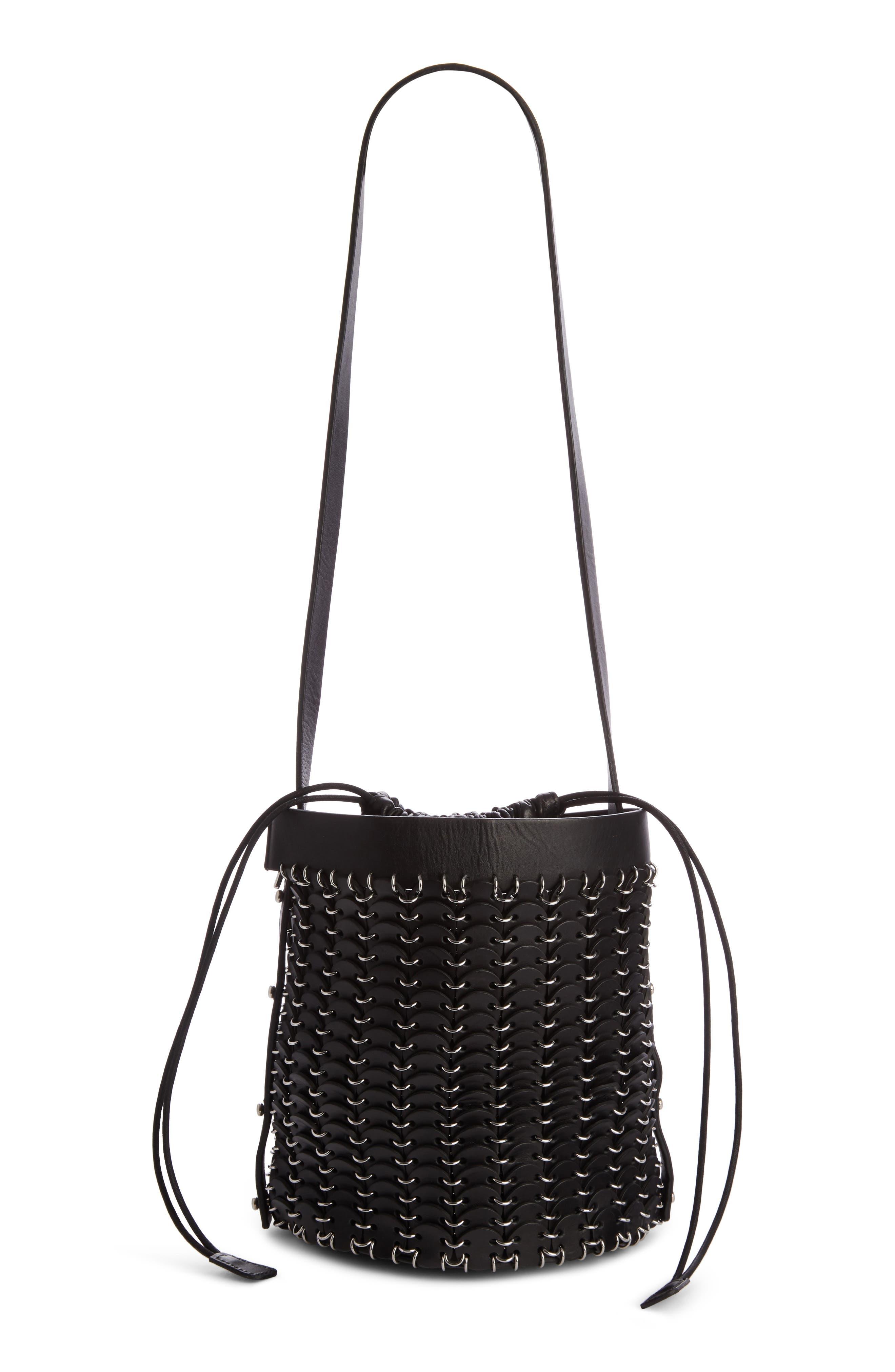Calfskin Bucket Bag,                             Main thumbnail 1, color,                             BLACK