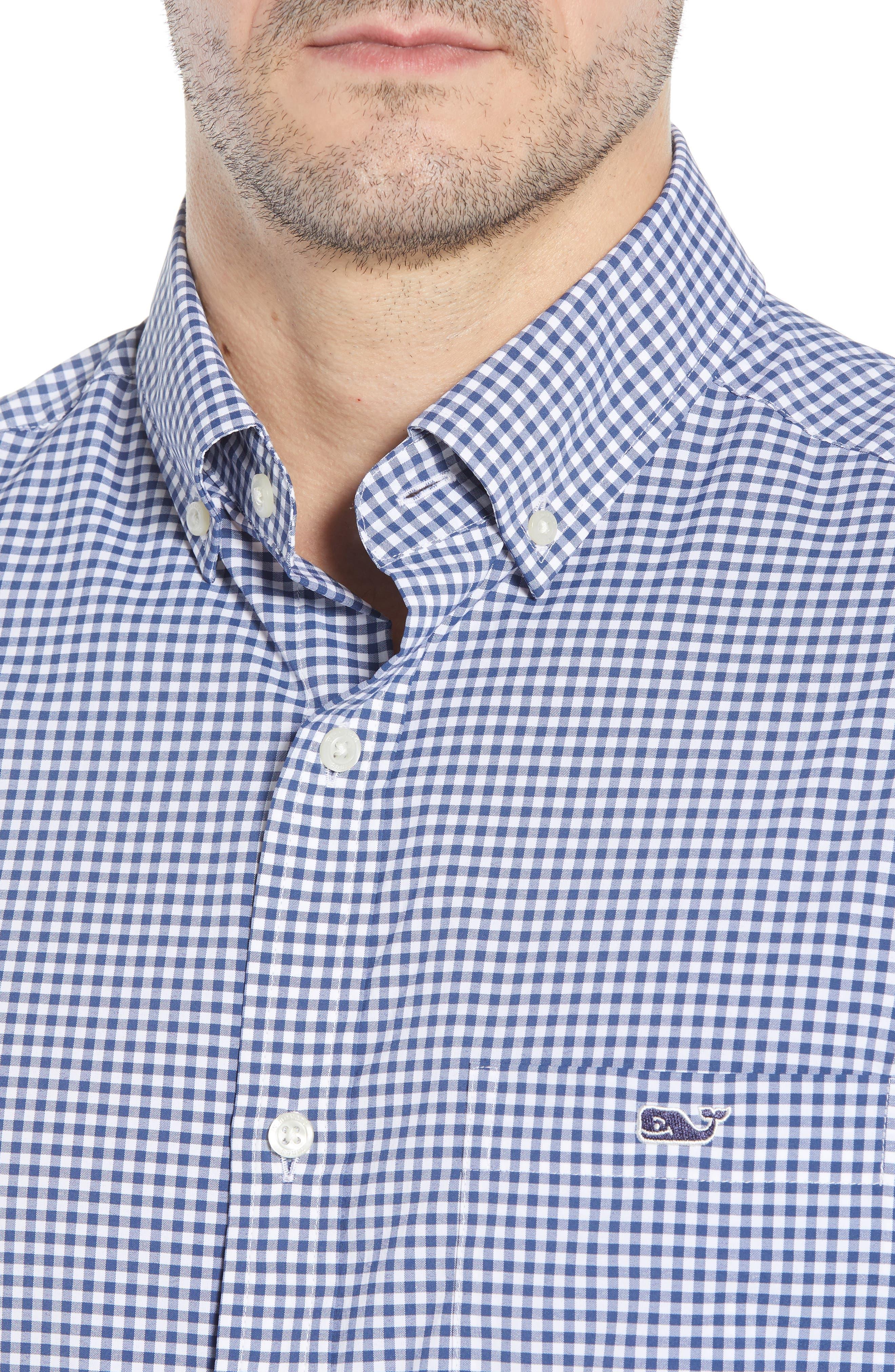 Grand Cay Tucker Regular Fit Gingham Performance Sport Shirt,                             Alternate thumbnail 4, color,                             MOONSHINE