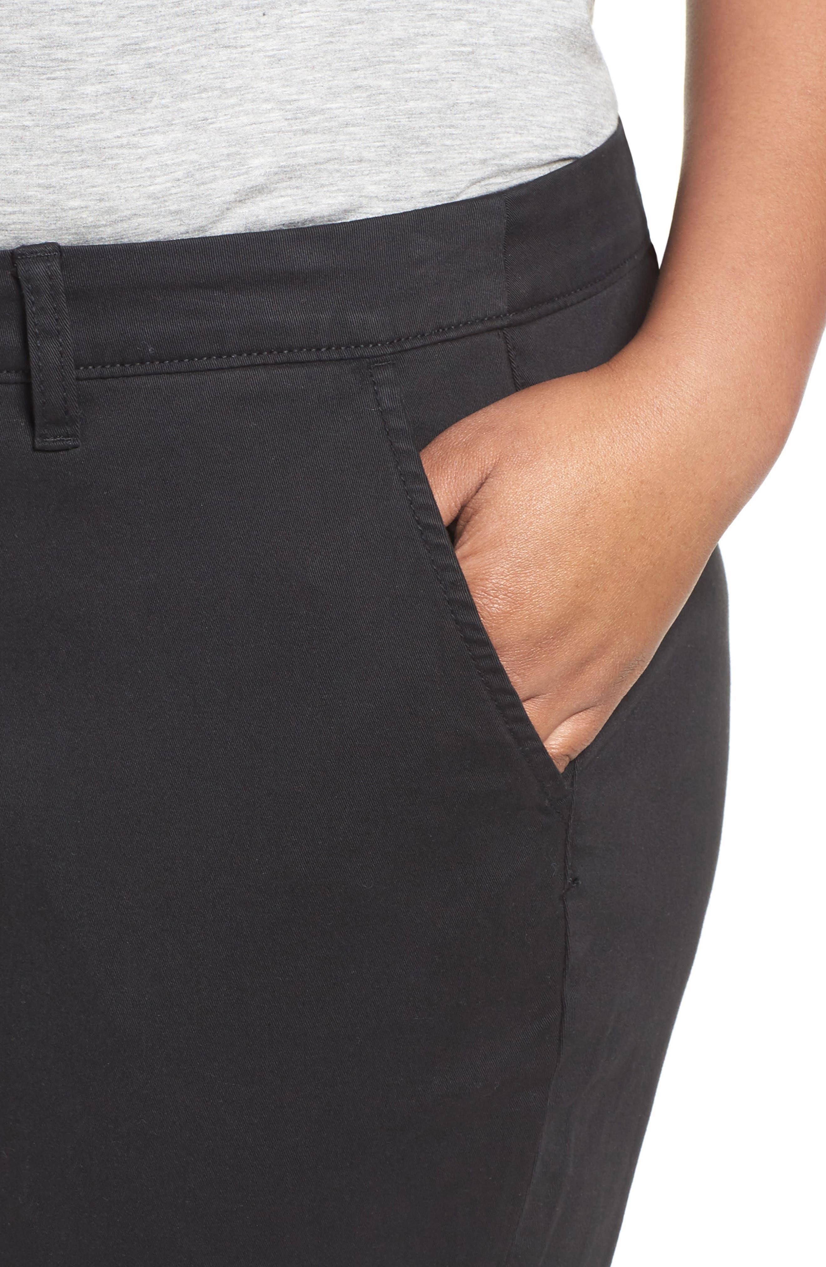 Stretch Cotton Ankle Pants,                             Alternate thumbnail 4, color,                             001