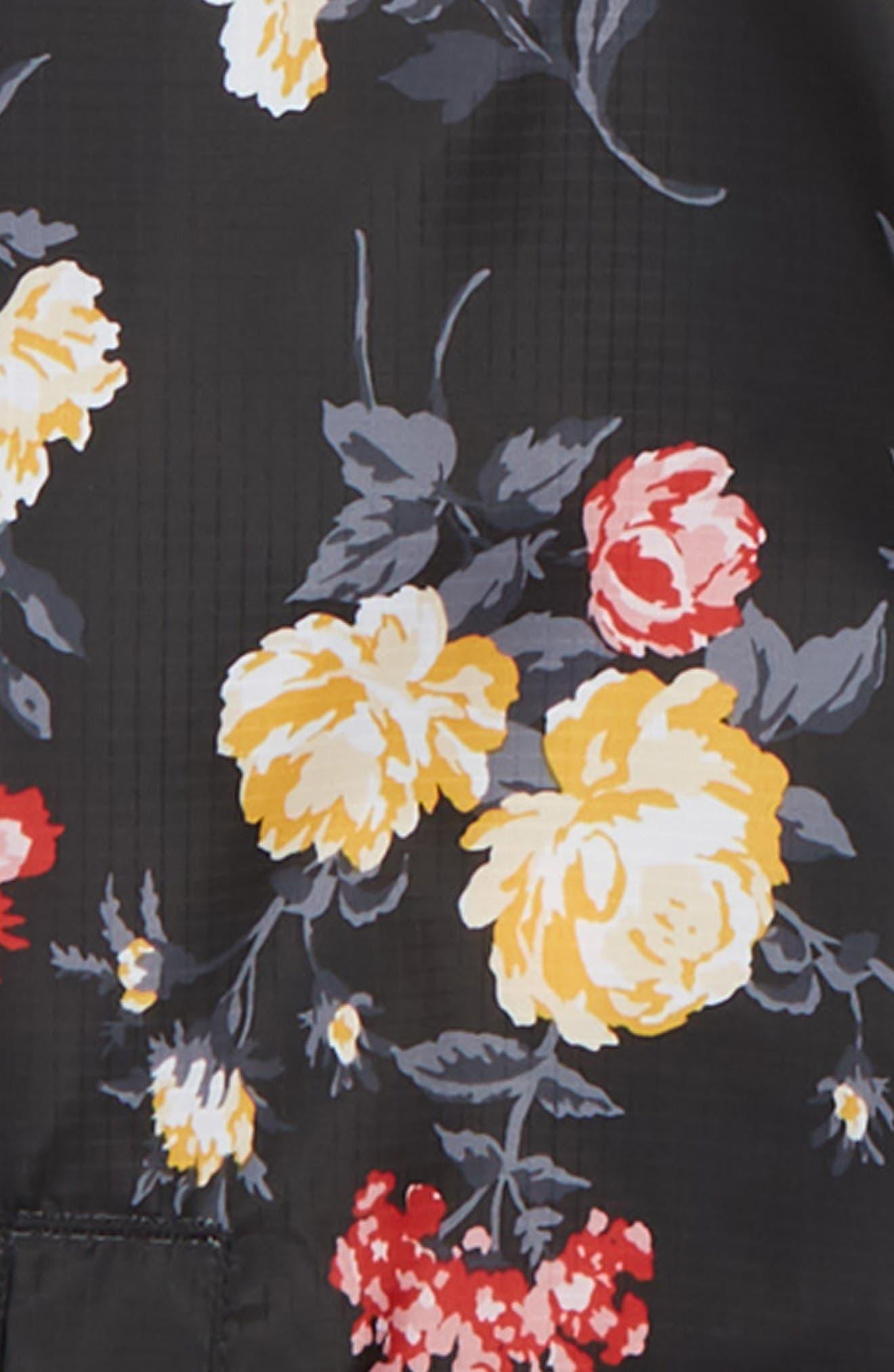 Flower Print Stripe Bomber Jacket,                             Alternate thumbnail 2, color,                             001