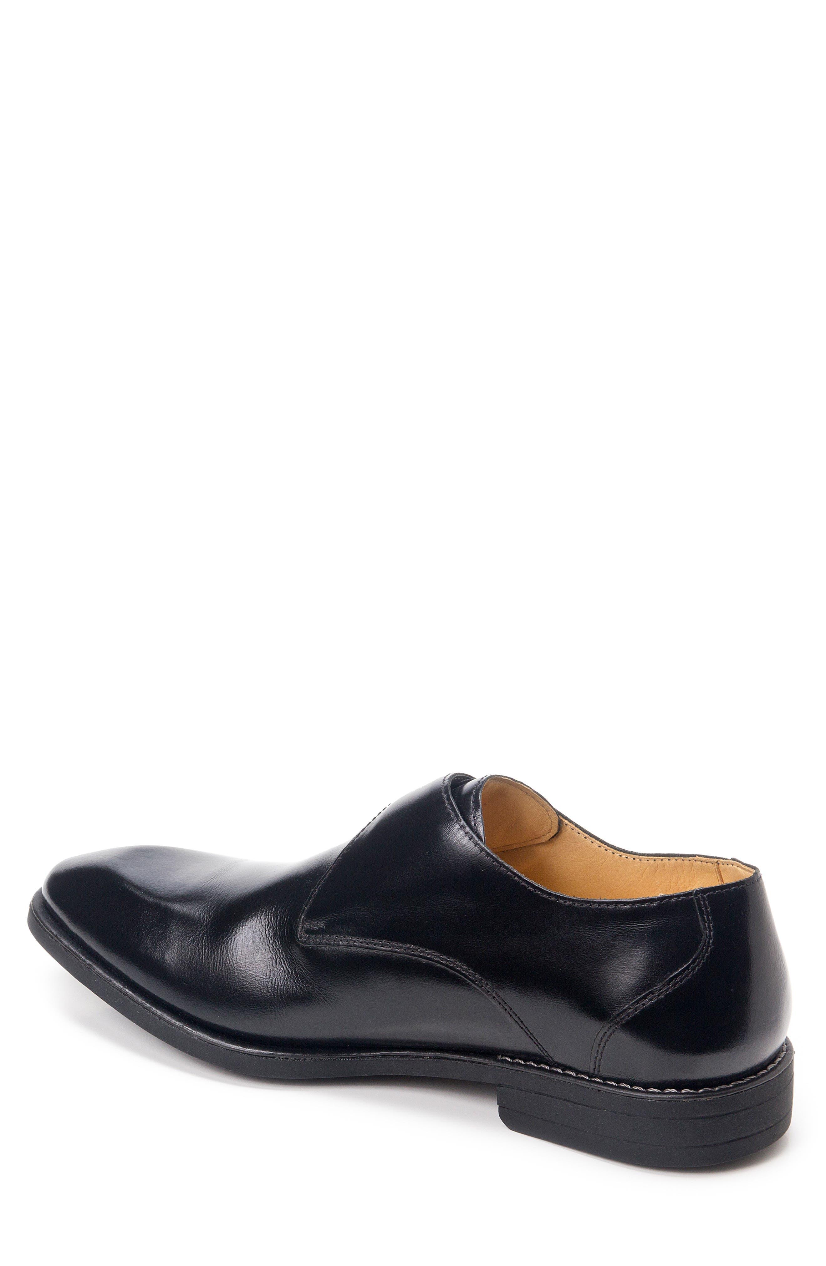 Wendell Single Buckle Monk Shoe,                             Alternate thumbnail 2, color,                             BLACK LEATHER